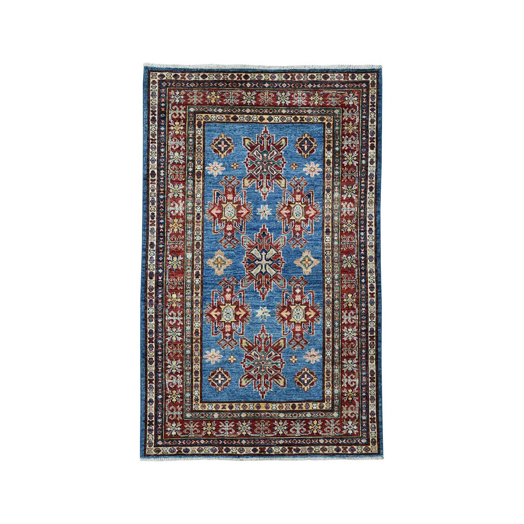"3'3""X5'1"" Blue Super Kazak Geometric Design Pure Wool Hand-Knotted Oriental Rug moae098a"