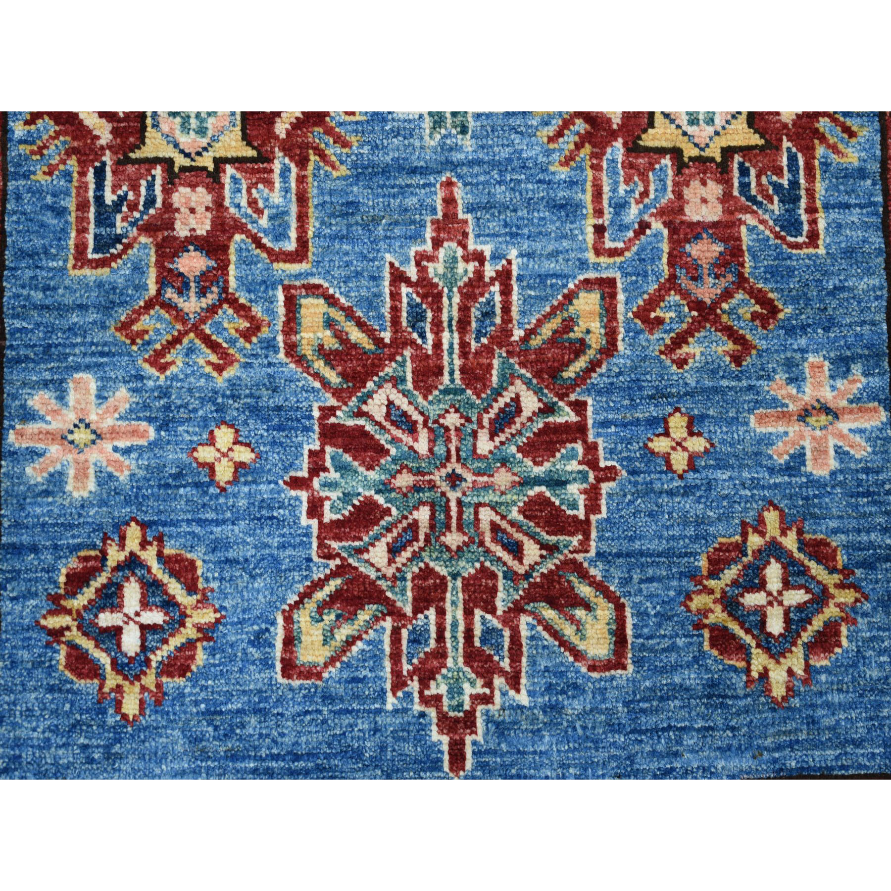 3-3 x5-1  Blue Super Kazak Geometric Design Pure Wool Hand-Knotted Oriental Rug