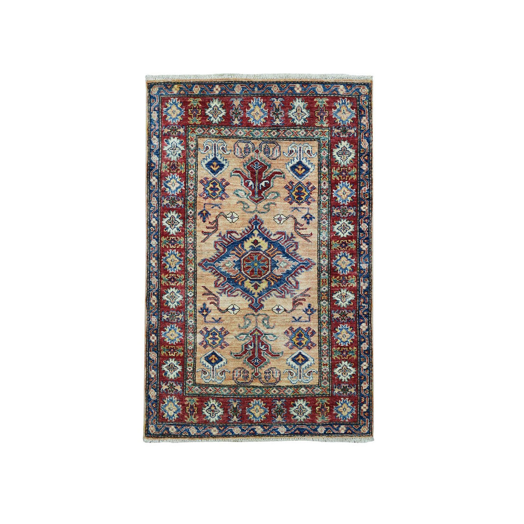 "2'10""X4' Super Kazak Pure Wool Geometric Design Hand-Knotted Oriental Rug moae098b"