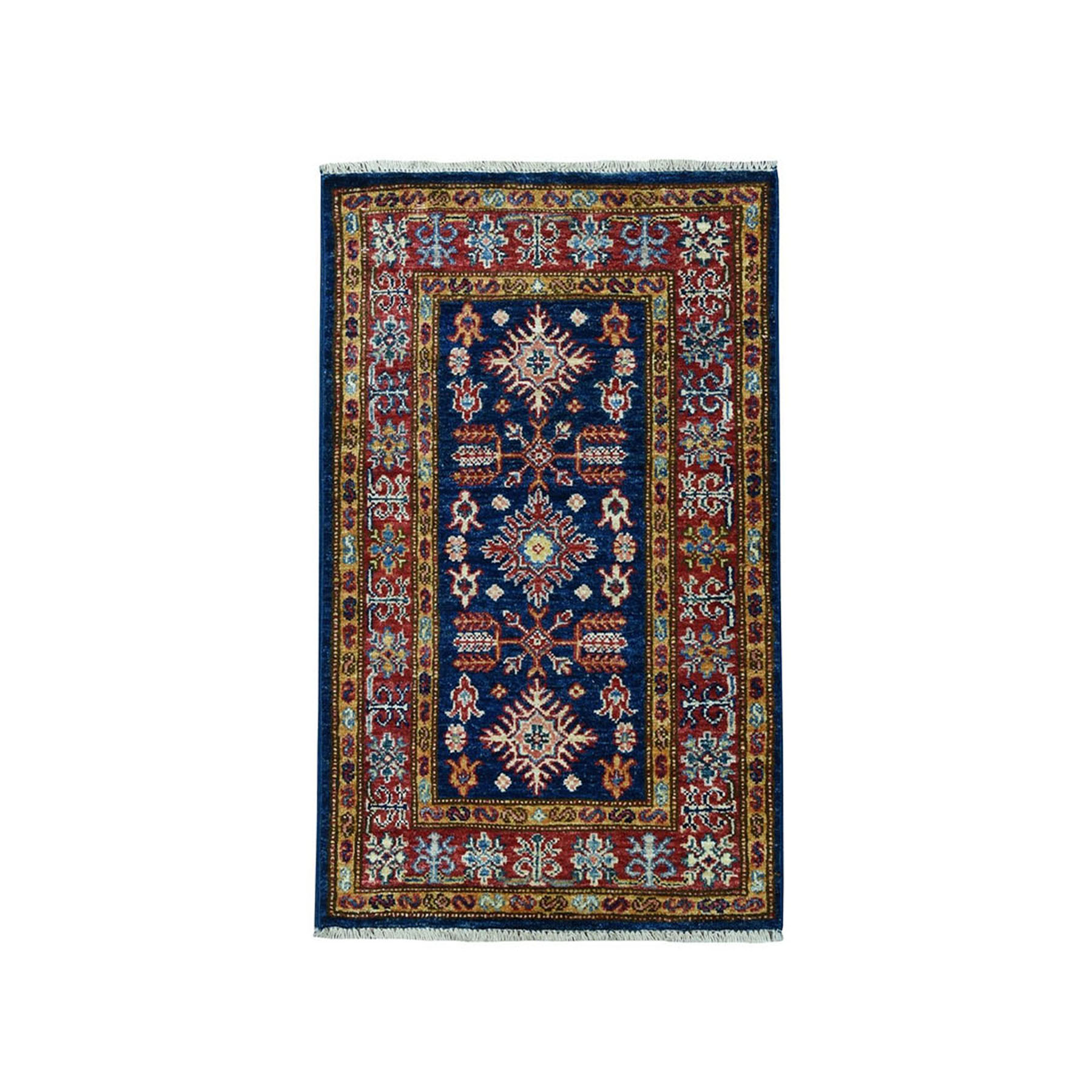 "1'10""X3'2"" Blue Super Kazak Geometric Design Pure Wool Hand-Knotted Oriental Rug moae098d"