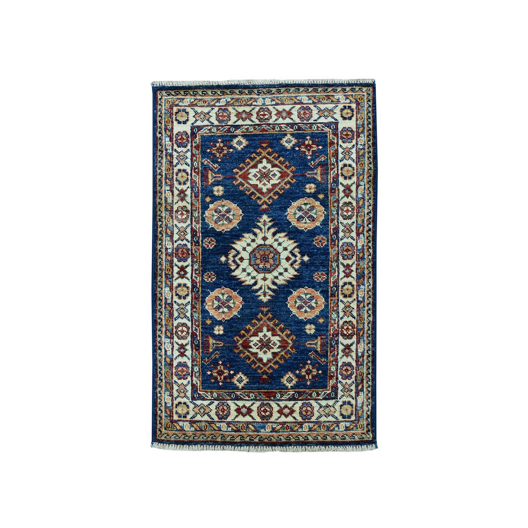 2'X3' Blue Super Kazak Geometric Design Pure Wool Hand-Knotted Oriental Rug moae098e