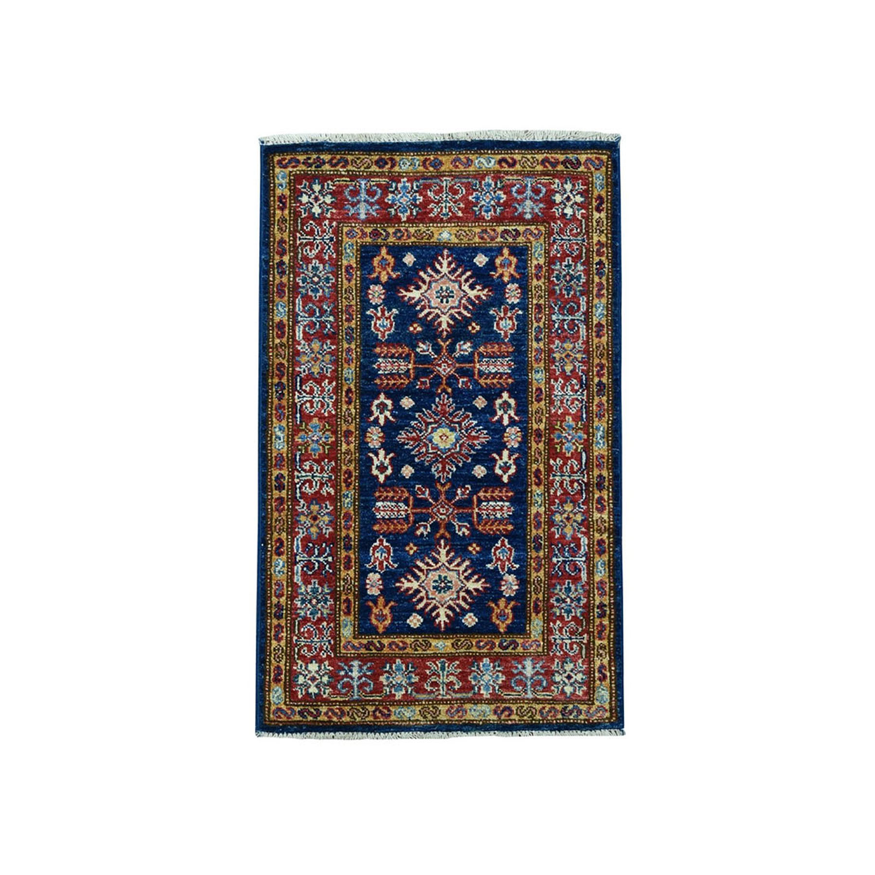 "1'10""X3'2"" Blue Super Kazak Geometric Design Pure Wool Hand-Knotted Oriental Rug moae0986"