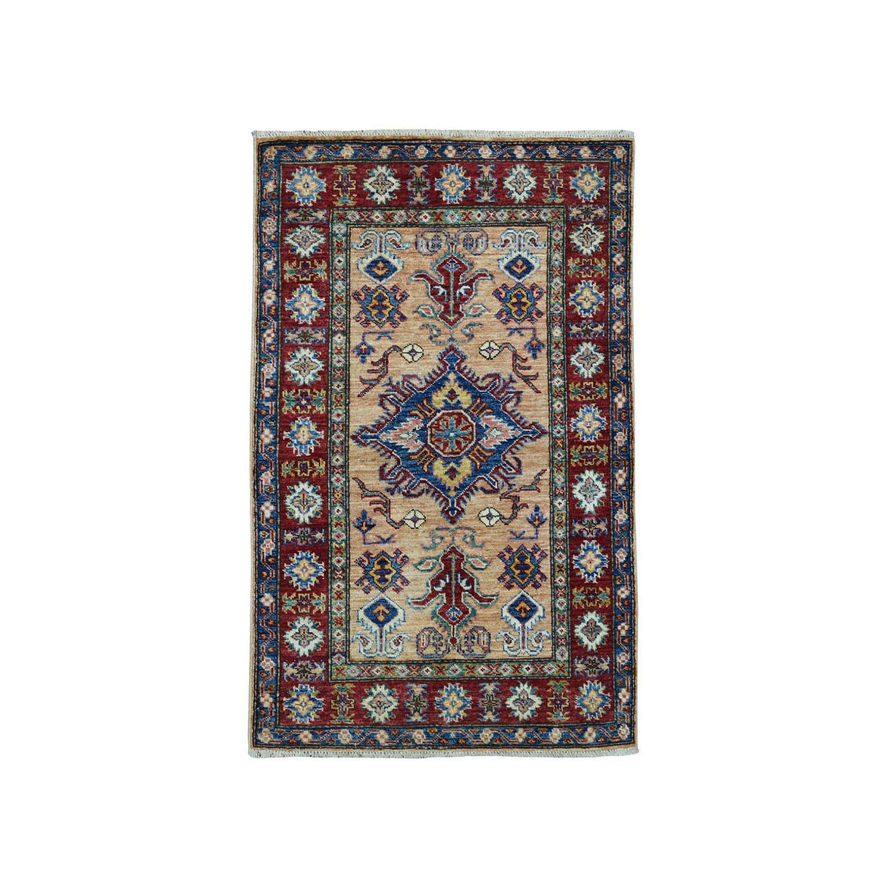 "2'7""X4'4"" Super Kazak Pure Wool Geometric Design Hand-Knotted Oriental Rug moae0987"