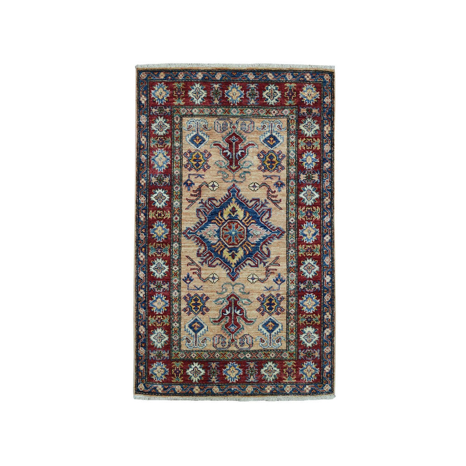 "2'9""X4'3"" Super Kazak Pure Wool Geometric Design Hand-Knotted Oriental Rug moae0989"