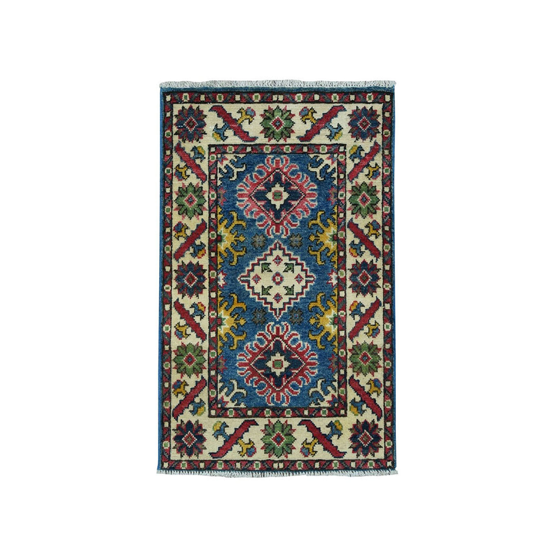 "2'X2'3"" Blue Geometric Design Kazak Pure Wool Hand-Knotted Oriental Rug moae099a"