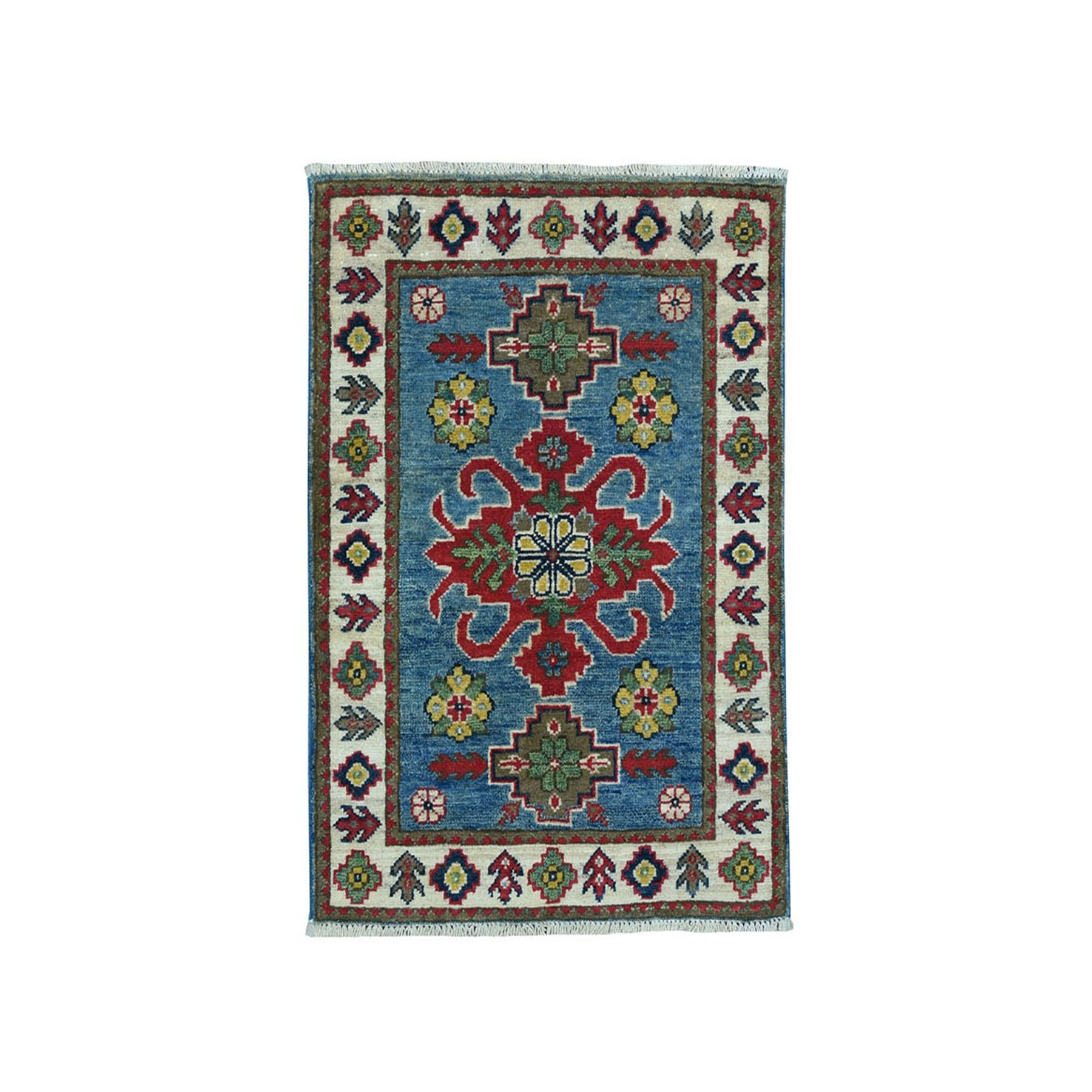 "2'1""X2'10"" Blue Geometric Design Kazak Pure Wool Hand-Knotted Oriental Rug moae099c"