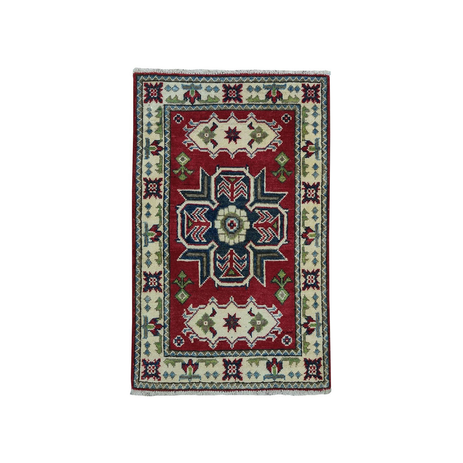 2'X3' Red Geometric Design Kazak Pure Wool Hand-Knotted Oriental Rug moae099e