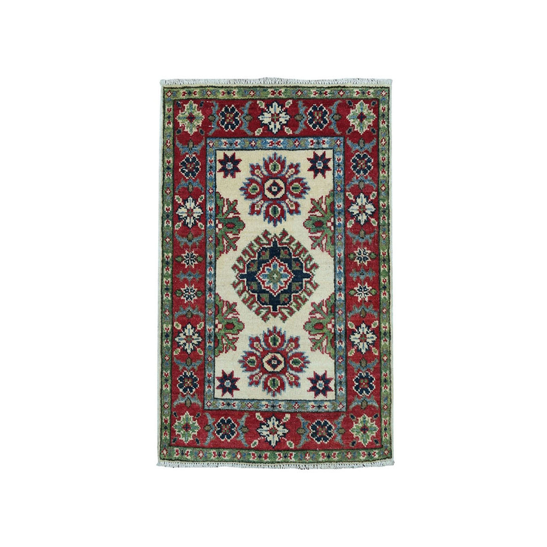 "2'X2'10"" Ivory Geometric Design Kazak Pure Wool Hand-Knotted Oriental Rug moae0996"