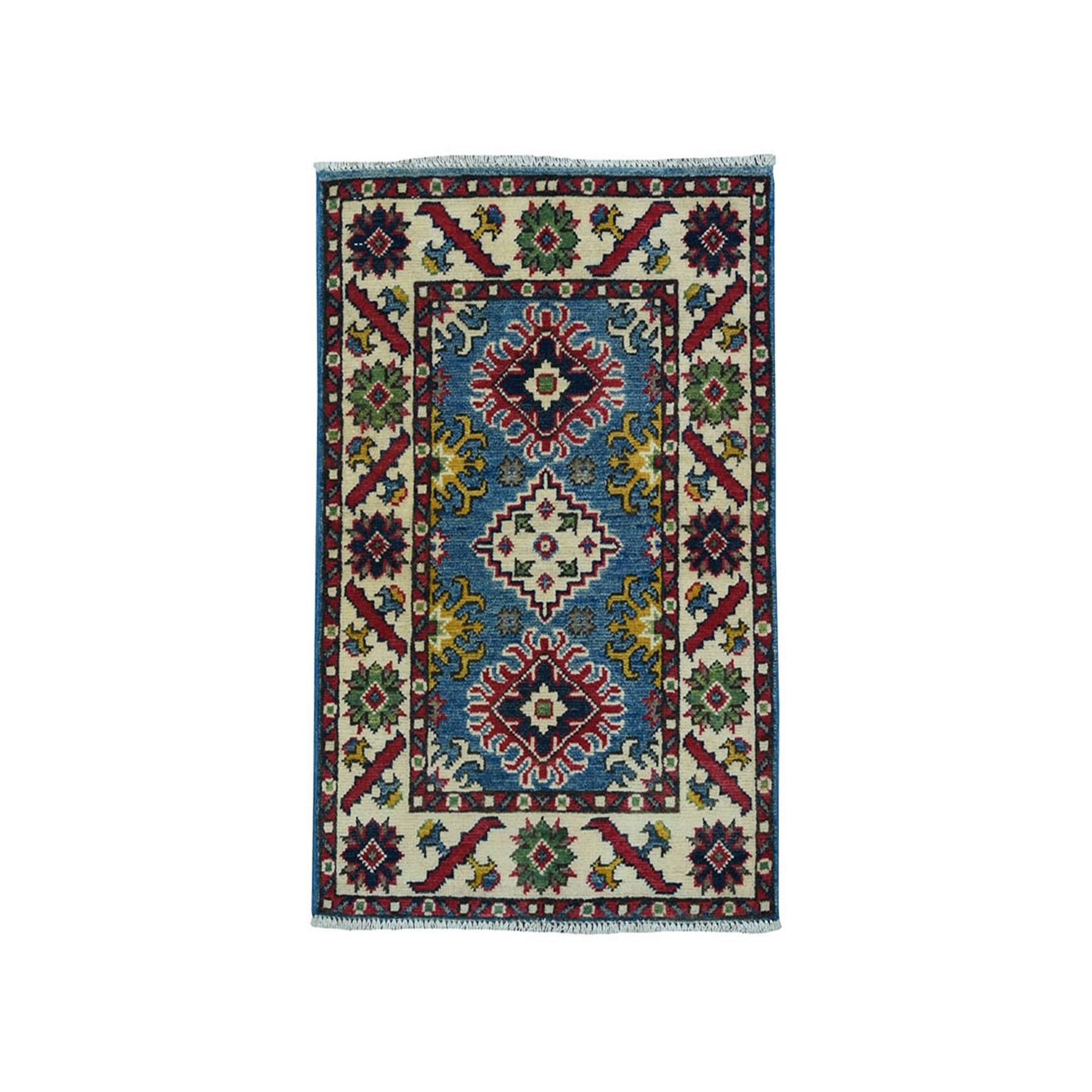 "2'X2'9"" Blue Geometric Design Kazak Pure Wool Hand-Knotted Oriental Rug moae0998"