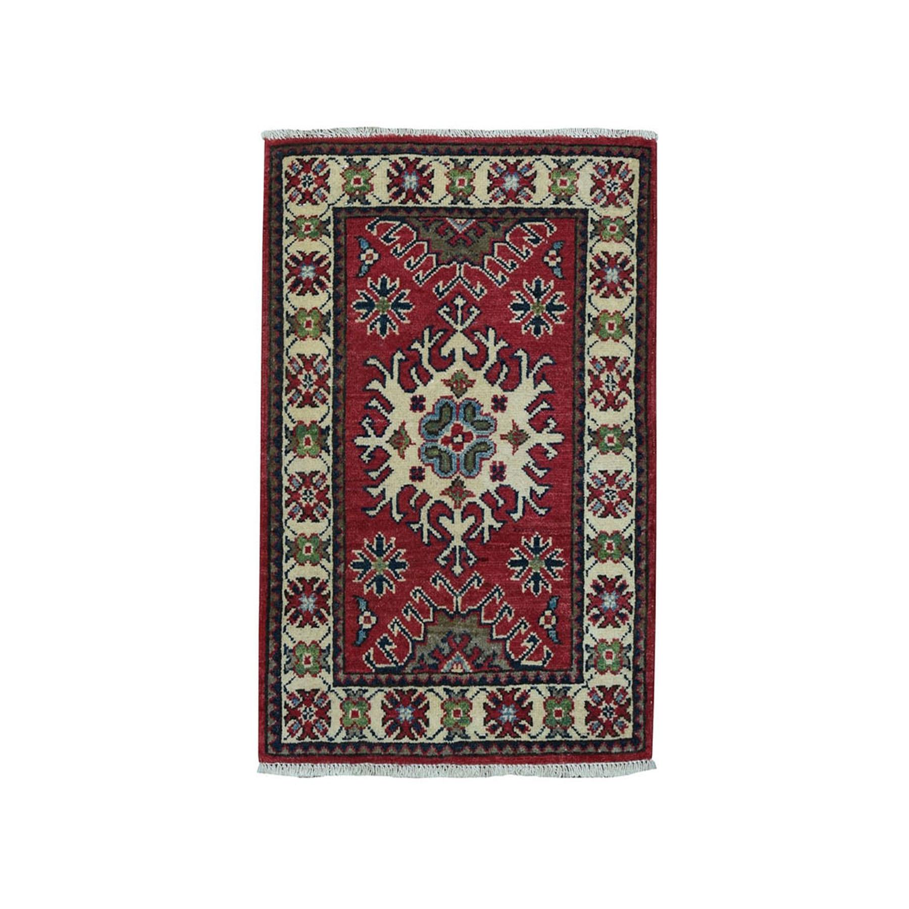 2'X3' Red Geometric Design Kazak Pure Wool Hand-Knotted Oriental Rug moae0999