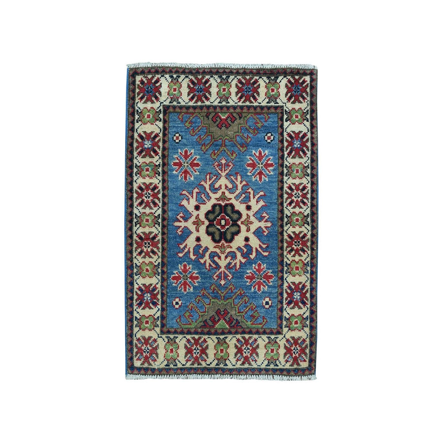 "2'X2'10"" Blue Geometric Design Kazak Pure Wool Hand-Knotted Oriental Rug moaea000"