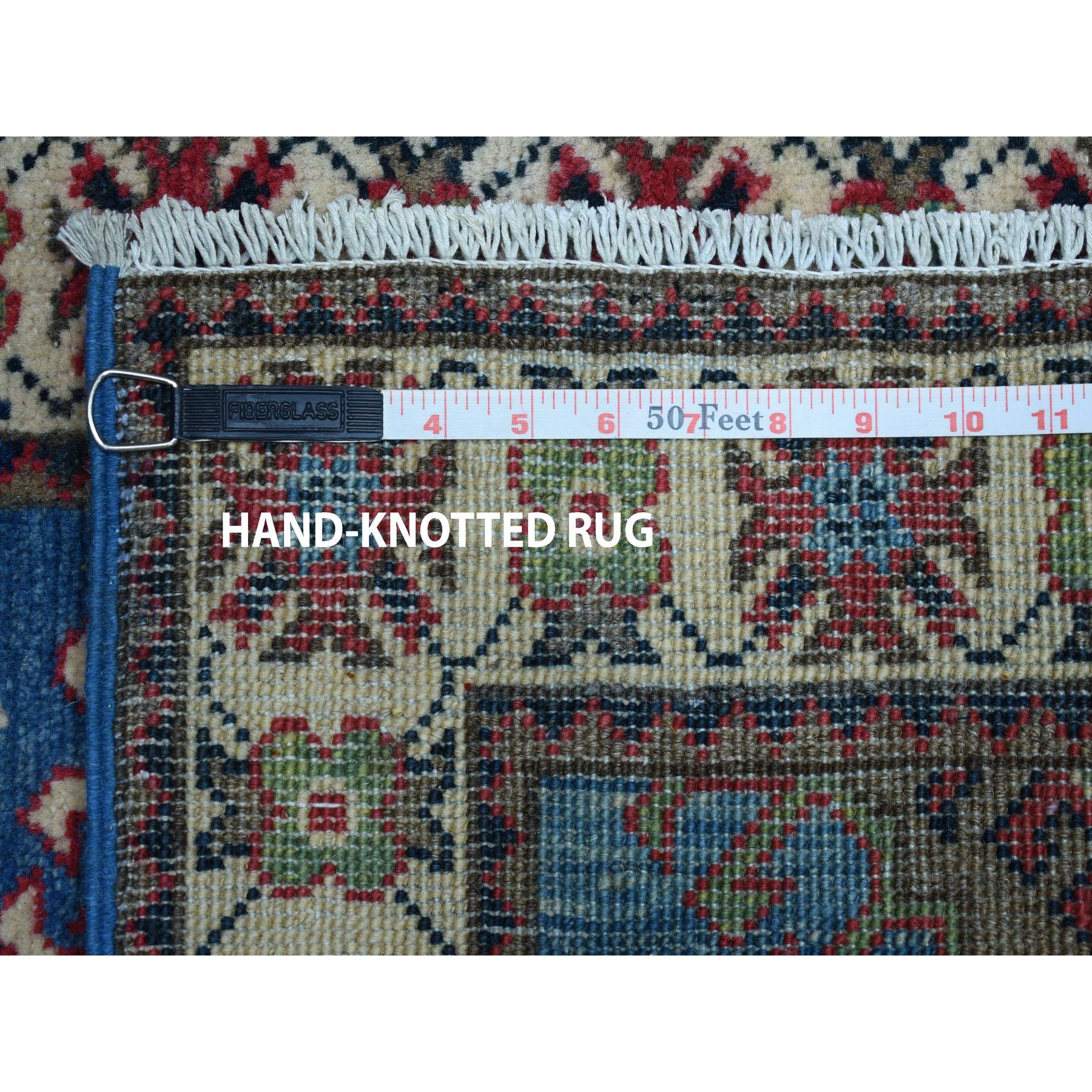 2-x2-10  Blue Geometric Design Kazak Pure Wool Hand-Knotted Oriental Rug