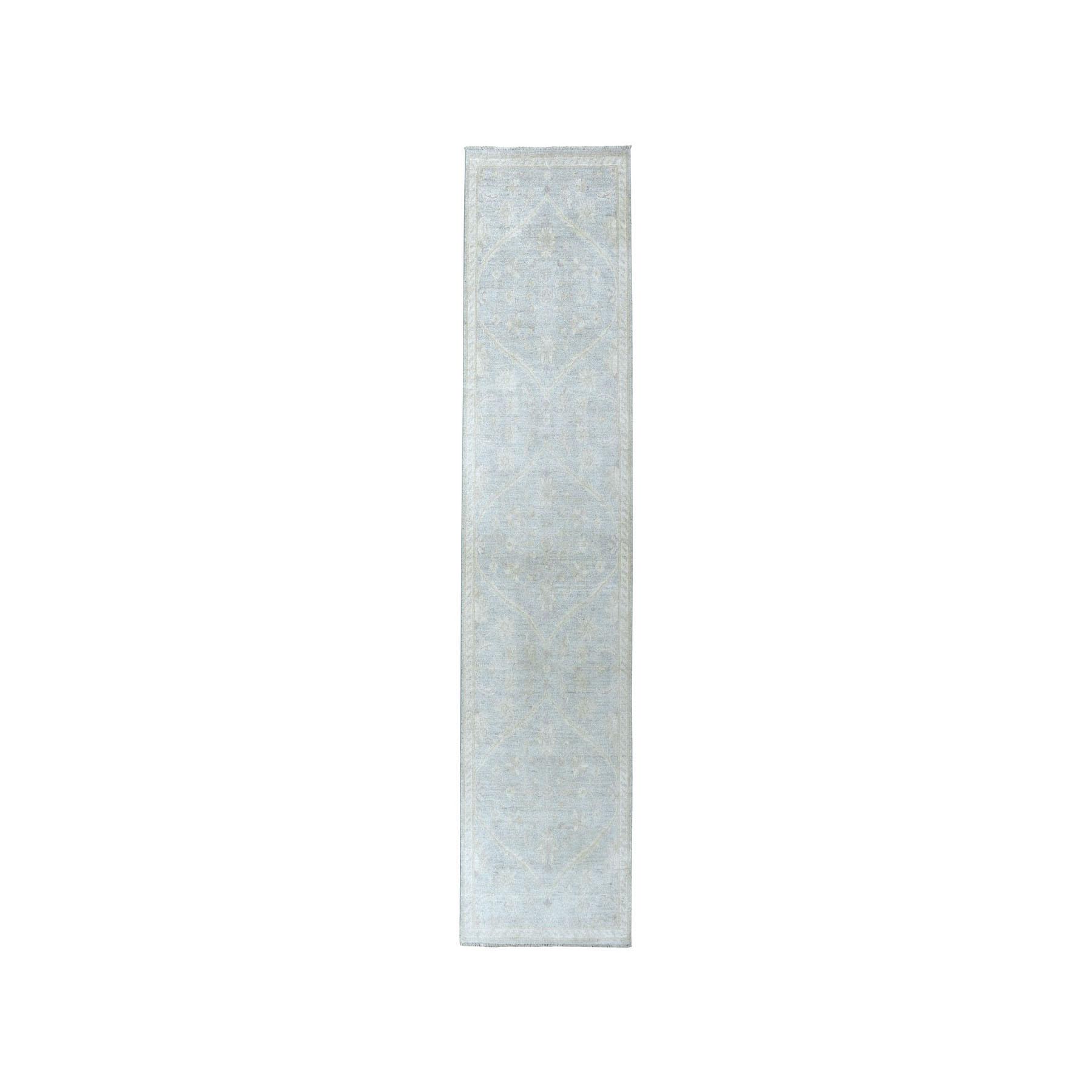 "2'8""X9'9"" White Wash Peshawar Pure Wool Hand-Knotted Runner Oriental Rug moaea00b"