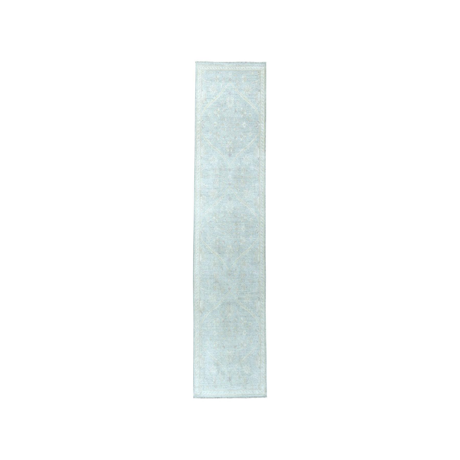 "2'7""X9'9"" White Wash Peshawar Pure Wool Hand-Knotted Oriental Runner Rug moaea00c"