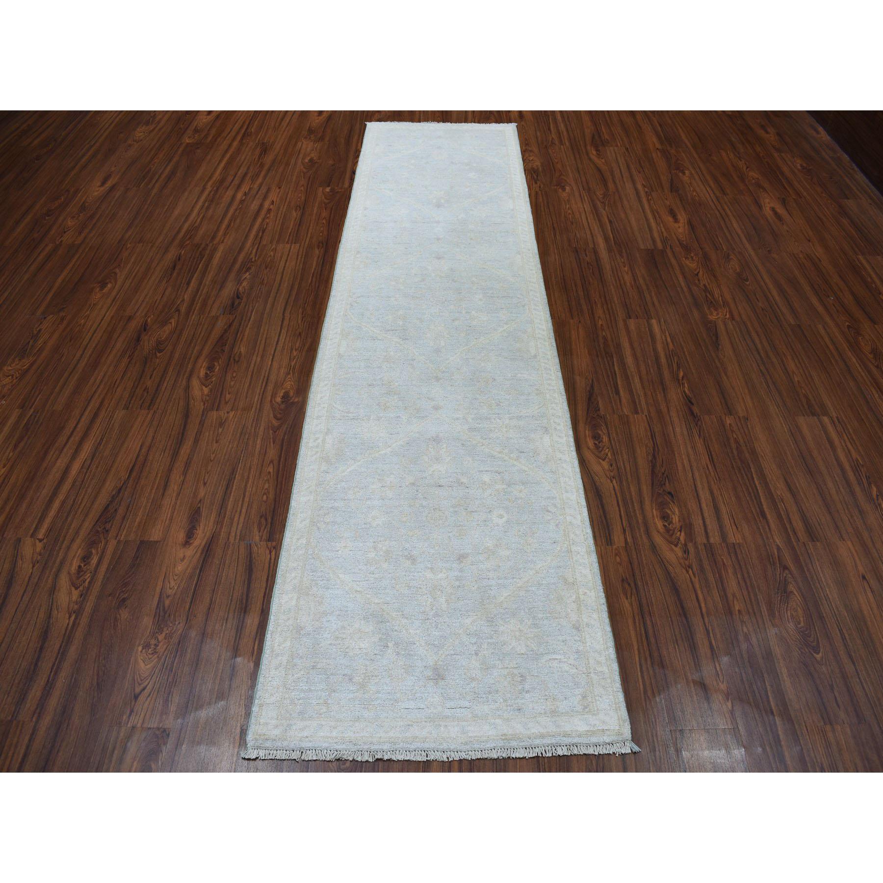 "2'7""x9'9"" White Wash Peshawar Pure Wool Hand-Knotted Oriental Runner Rug"