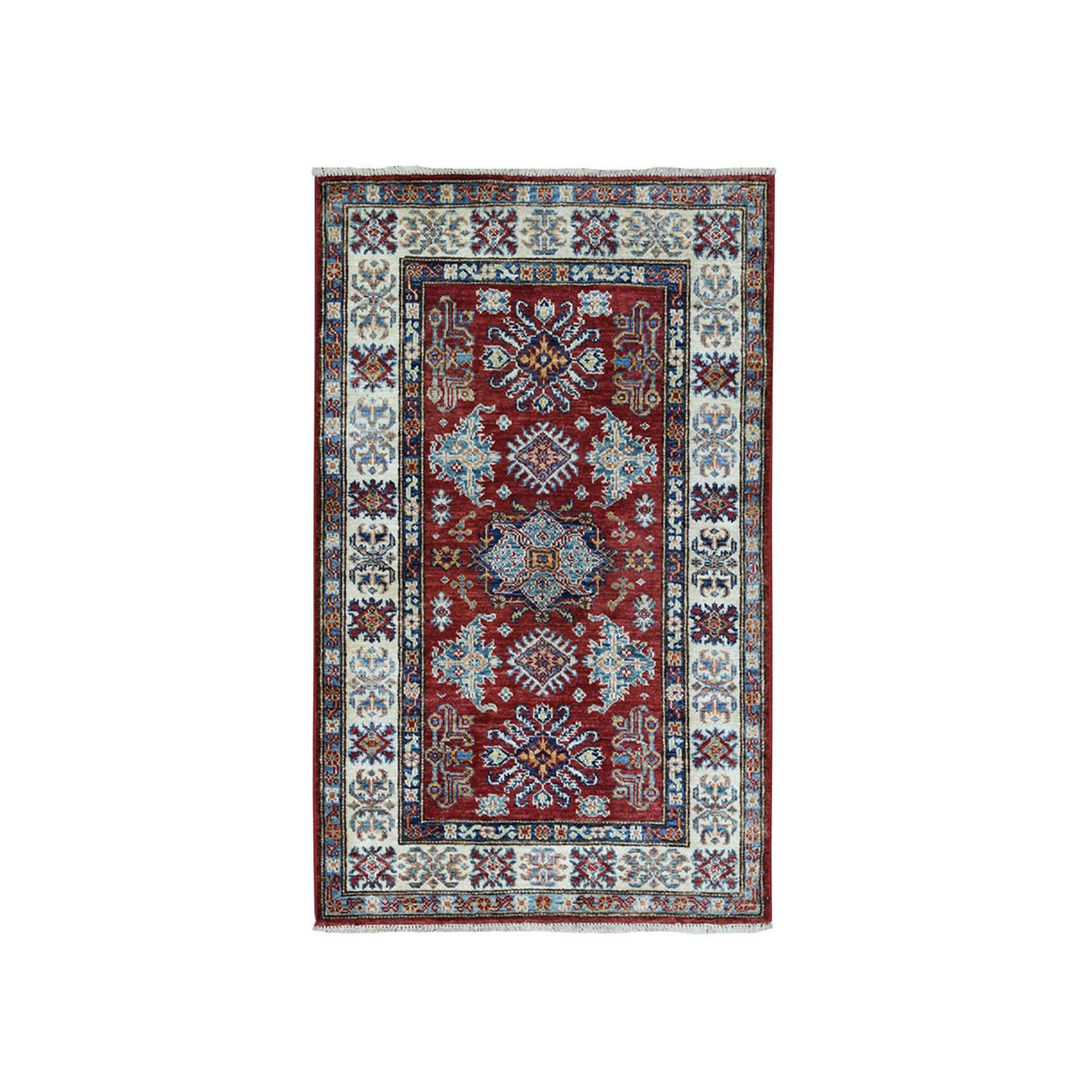 "2'7""X3'10"" Red Super Kazak Pure Wool Geometric Design Hand-Knotted Oriental Rug moaea007"