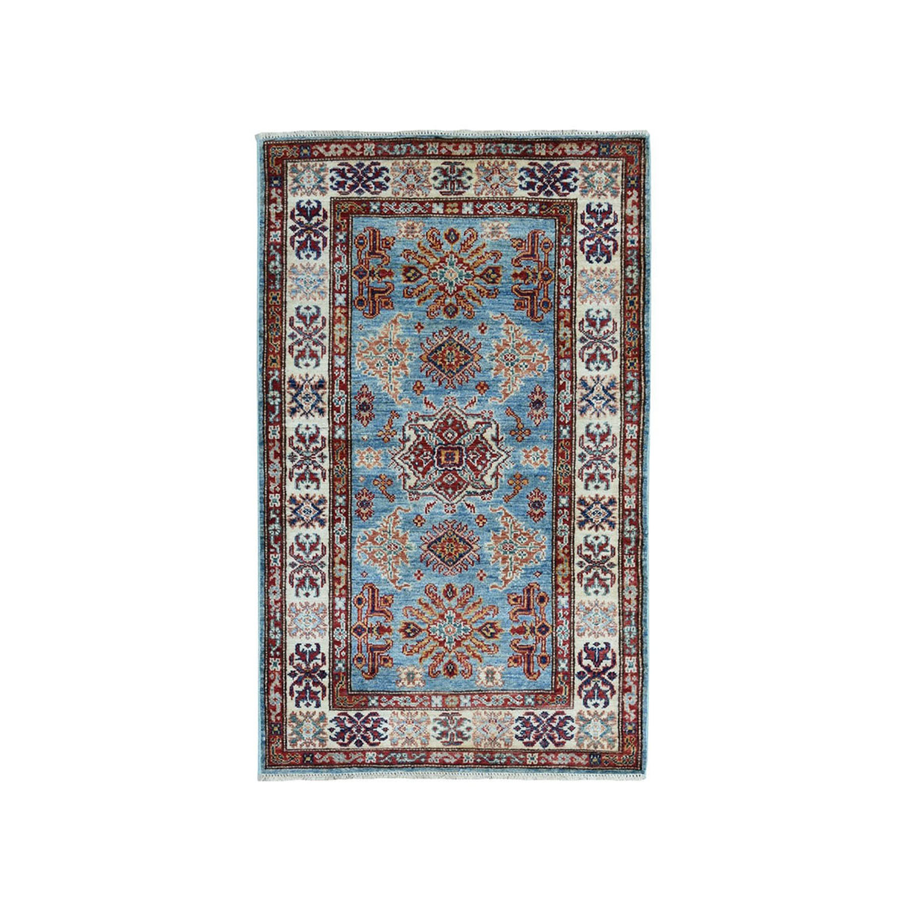 "2'8""X4'1"" Blue Super Kazak Geometric Design Pure Wool Hand-Knotted Oriental Rug moaea008"