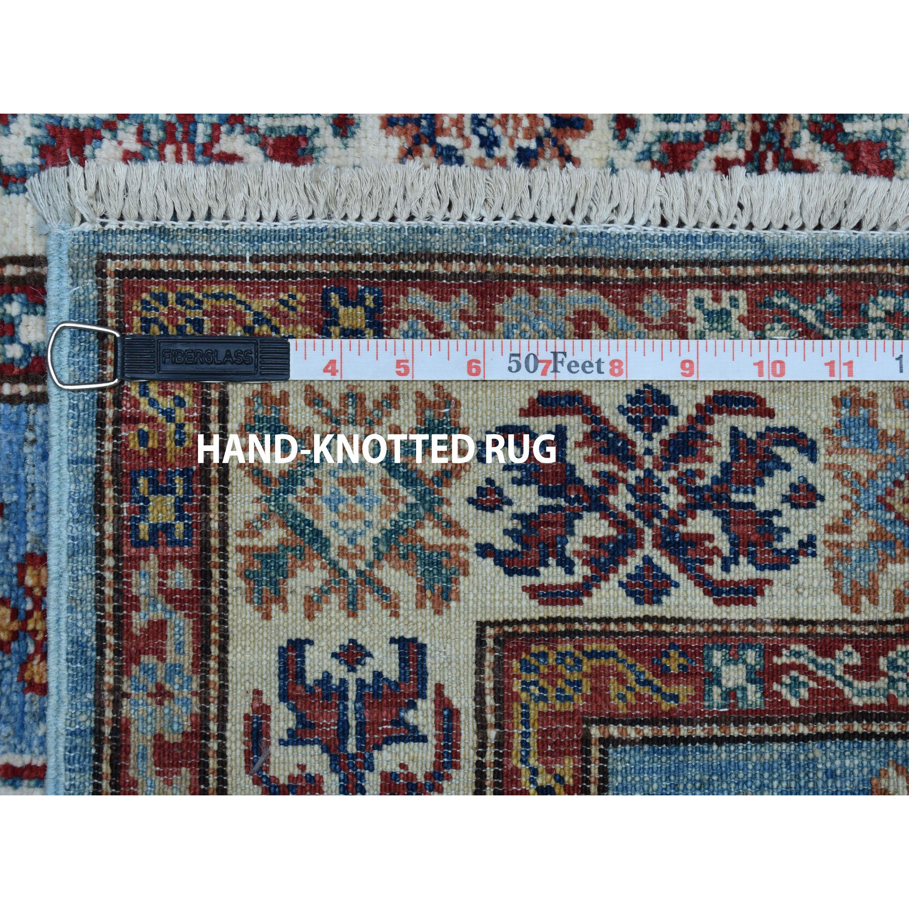2-8 x4-1  Blue Super Kazak Geometric Design Pure Wool Hand-Knotted Oriental Rug