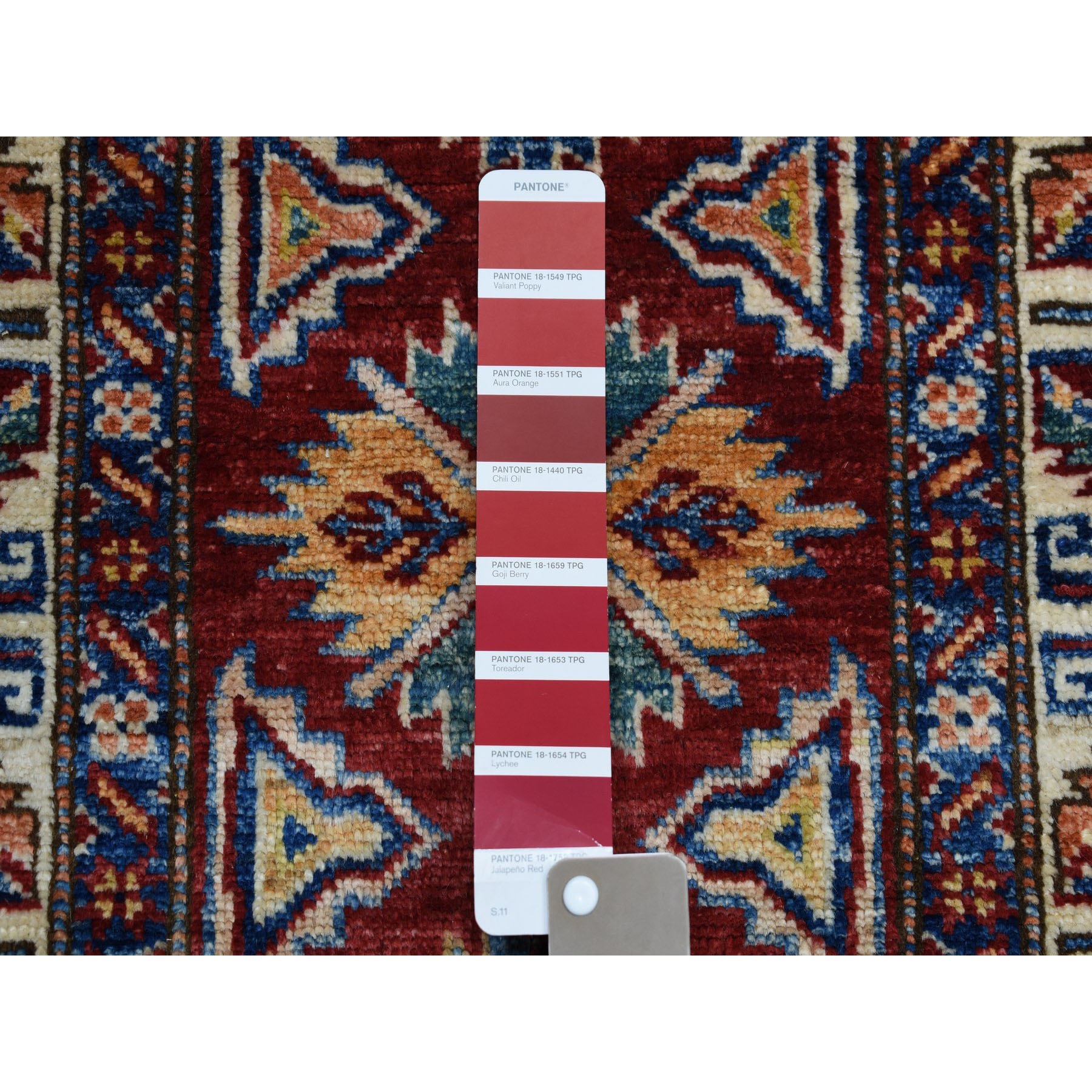 2-x6-3  Red Super Kazak Pure Wool Geometric Design Hand-Knotted Runner Oriental Rug