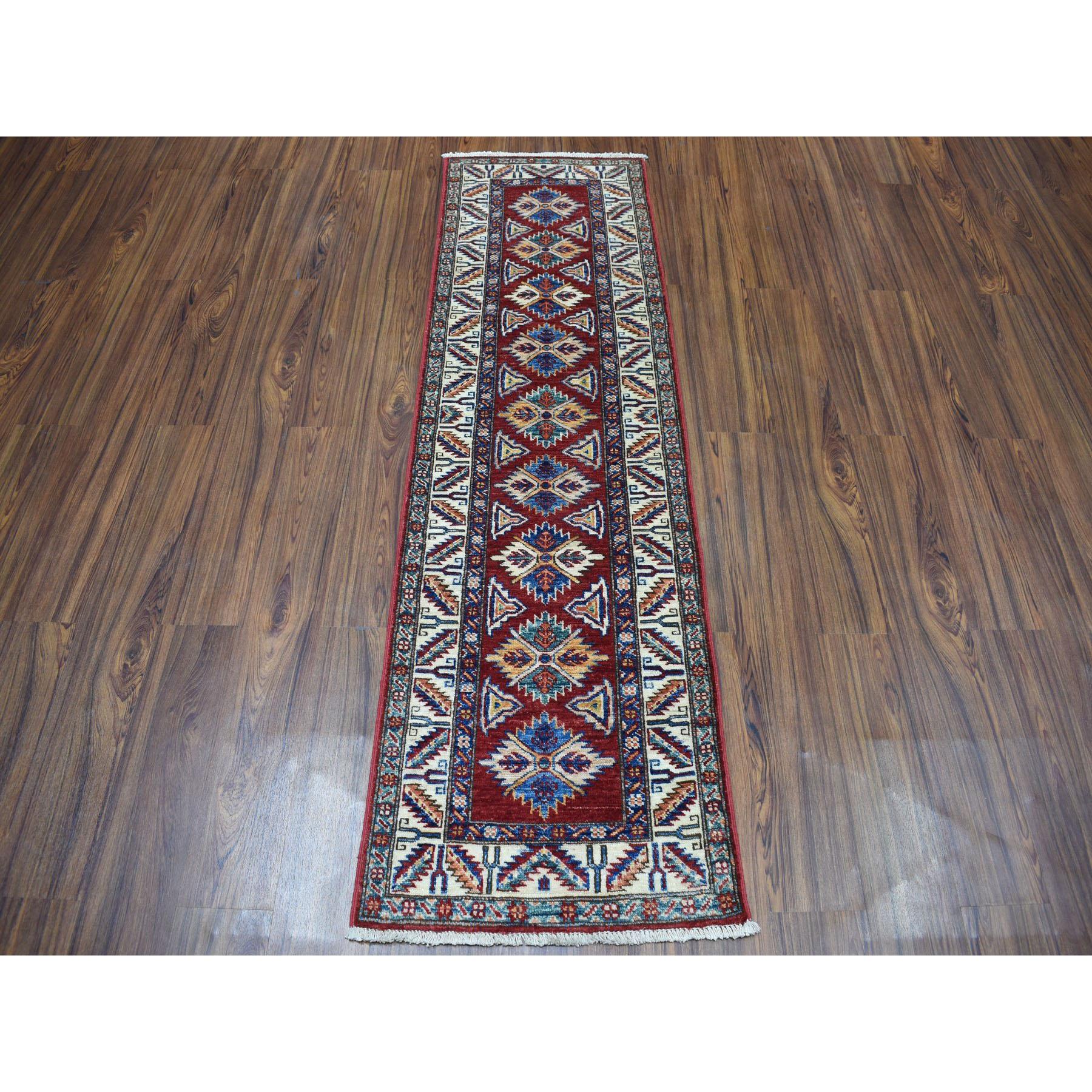 2-x6-3  Red Super Kazak Pure Wool Geometric Design Hand-Knotted Runner Oriental Rug