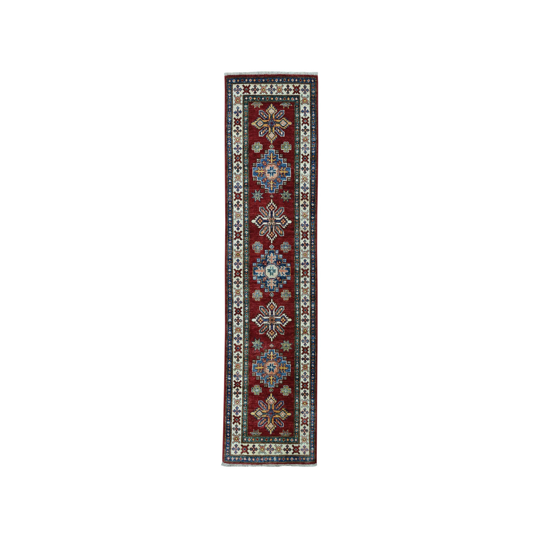 "2'x6'2"" Red Super Kazak Pure Wool Geometric Design Hand-Knotted Runner Oriental Rug"