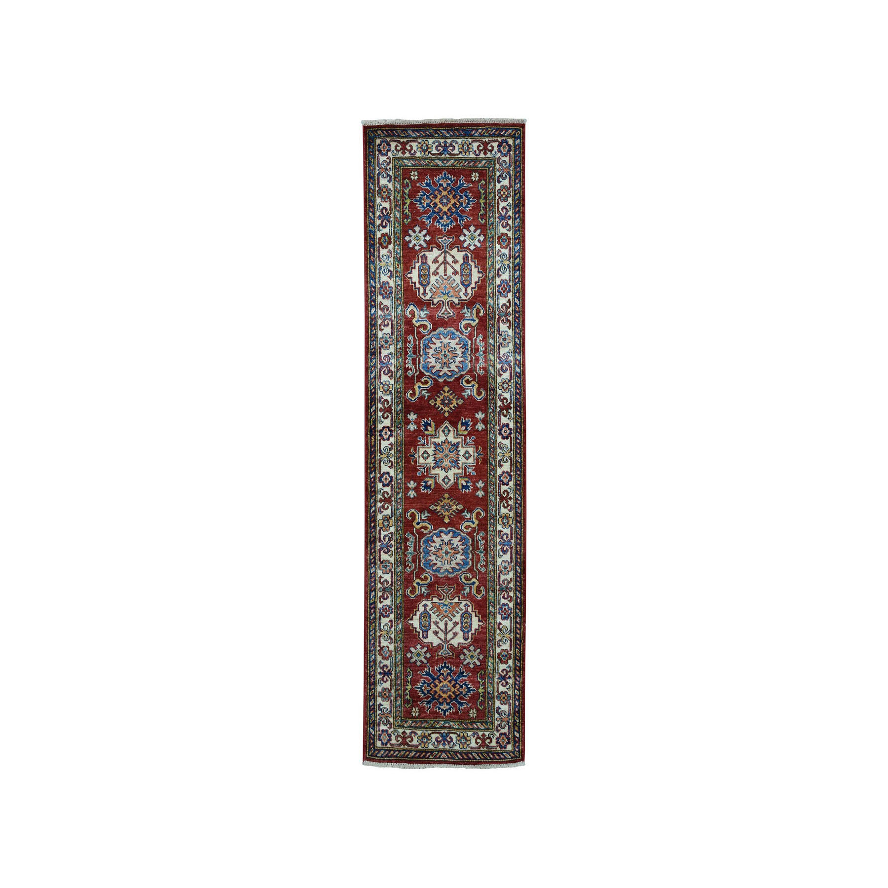 2'X6' Red Super Kazak Pure Wool Geometric Design Hand-Knotted Runner Oriental Rug moaea0a7