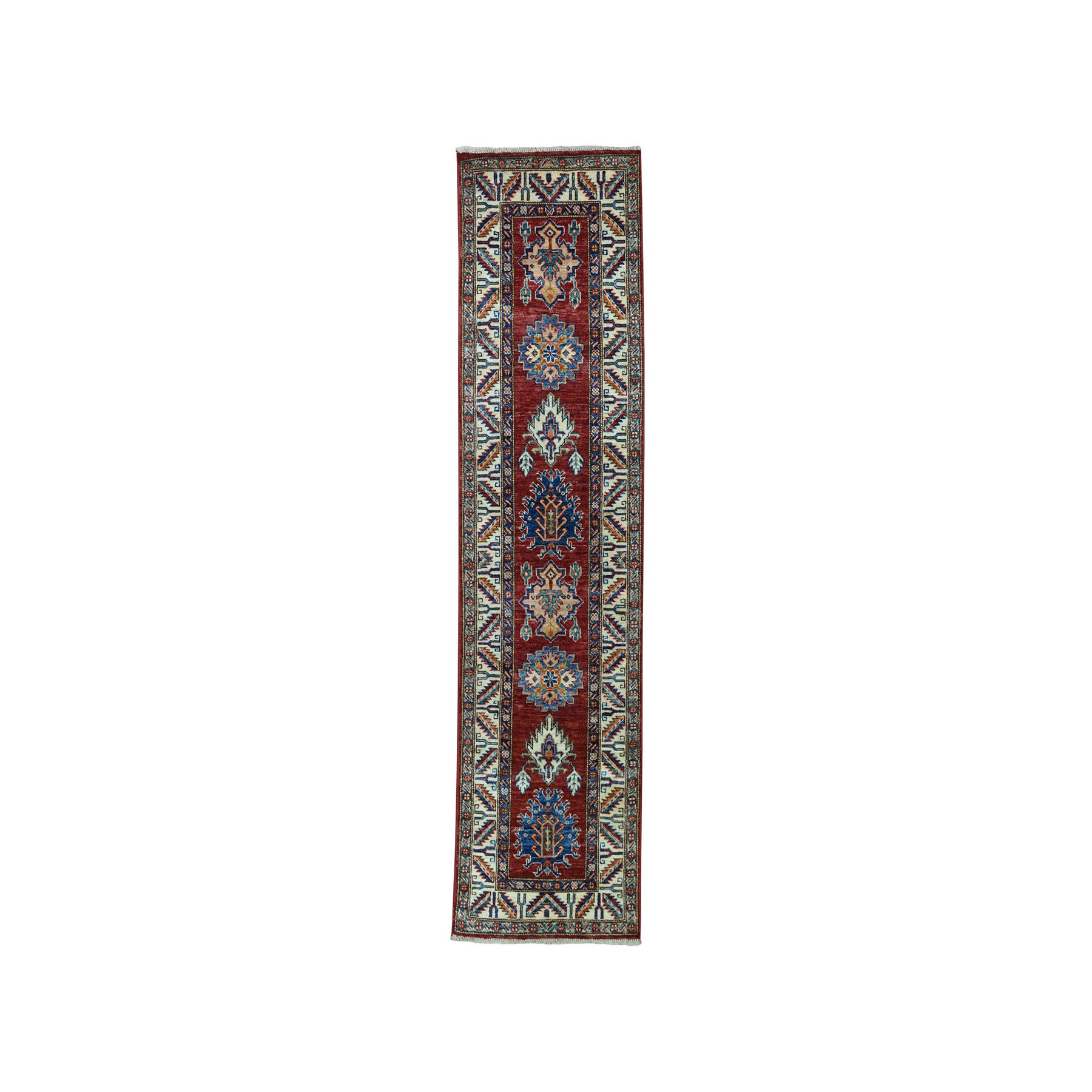 "1'10""x6'4""  Red Super Kazak Pure Wool Geometric Design Hand-Knotted Runner Oriental Rug"