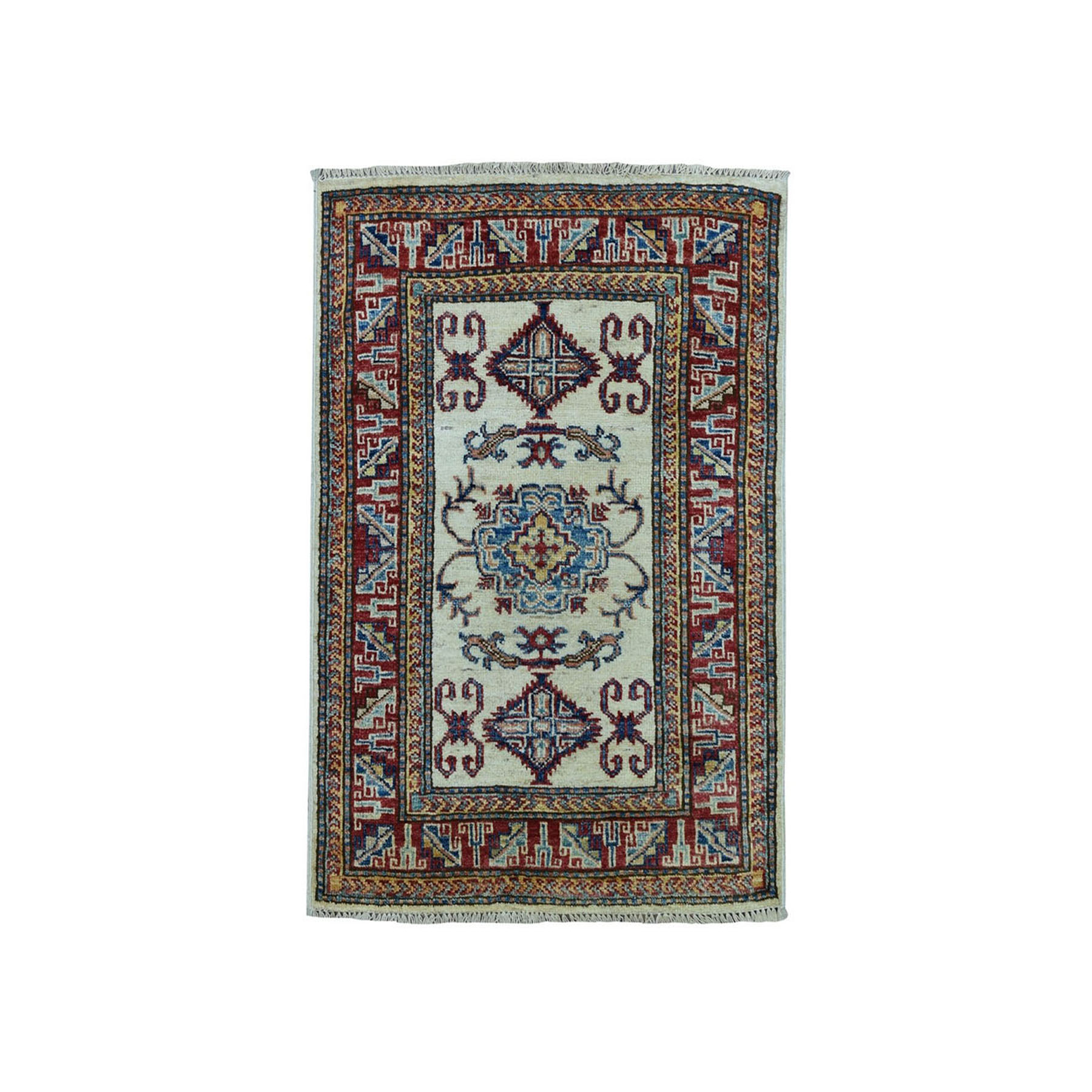 "2'2""X3'1"" Ivory Super Kazak Pure Wool Geometric Design Hand-Knotted Oriental Rug moaea0b0"