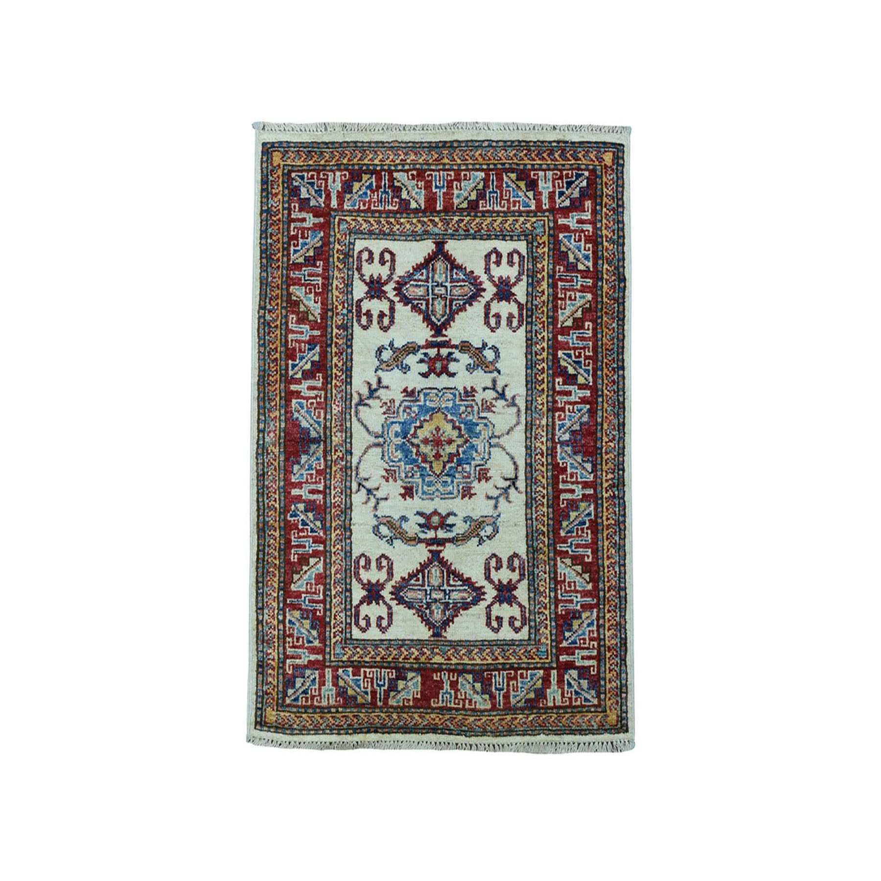 "2'1""X3' Ivory Super Kazak Pure Wool Geometric Design Hand-Knotted Oriental Rug moaea0bb"