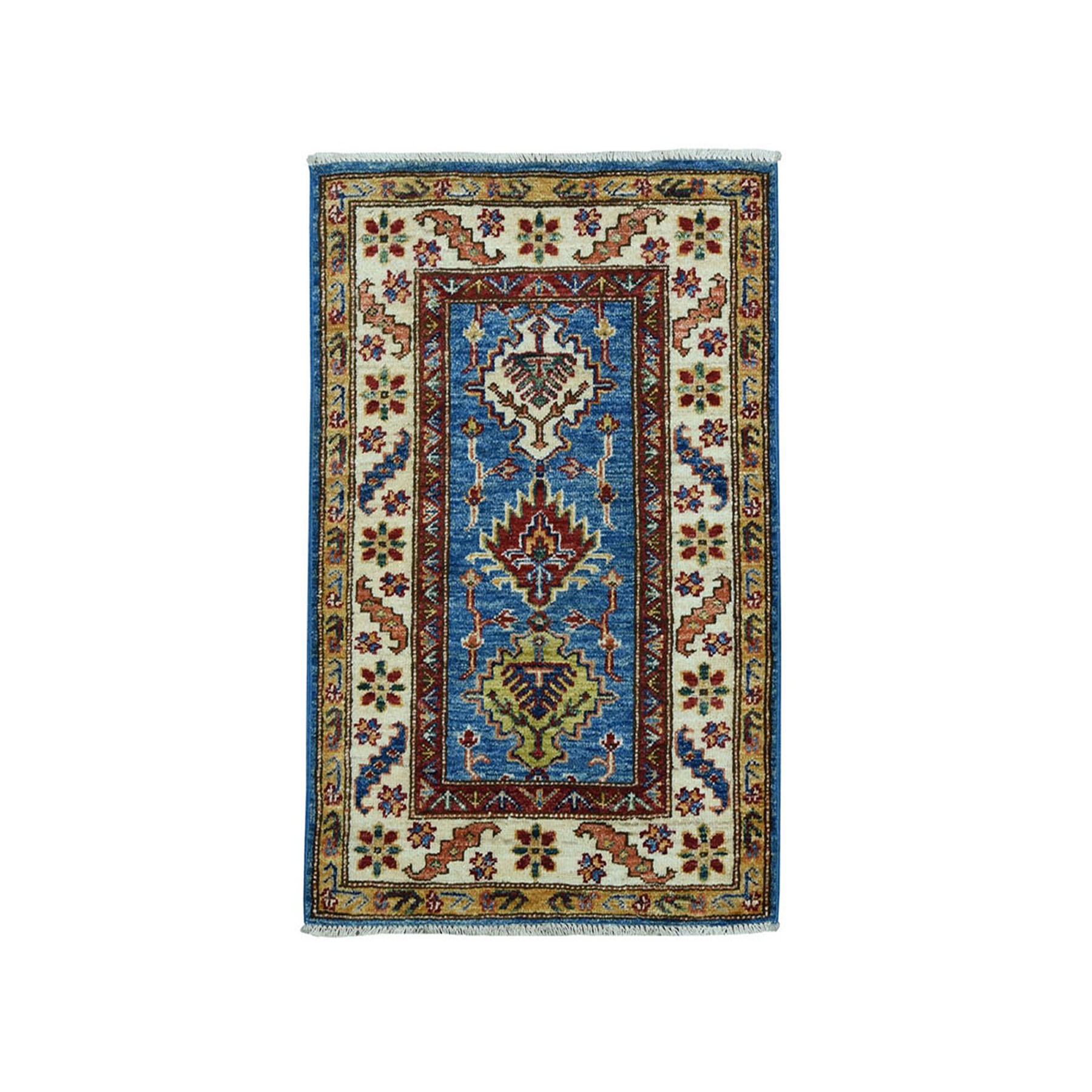 "2'x3'1"" Blue Super Kazak Geometric Design Pure Wool Hand-Knotted Oriental Rug"