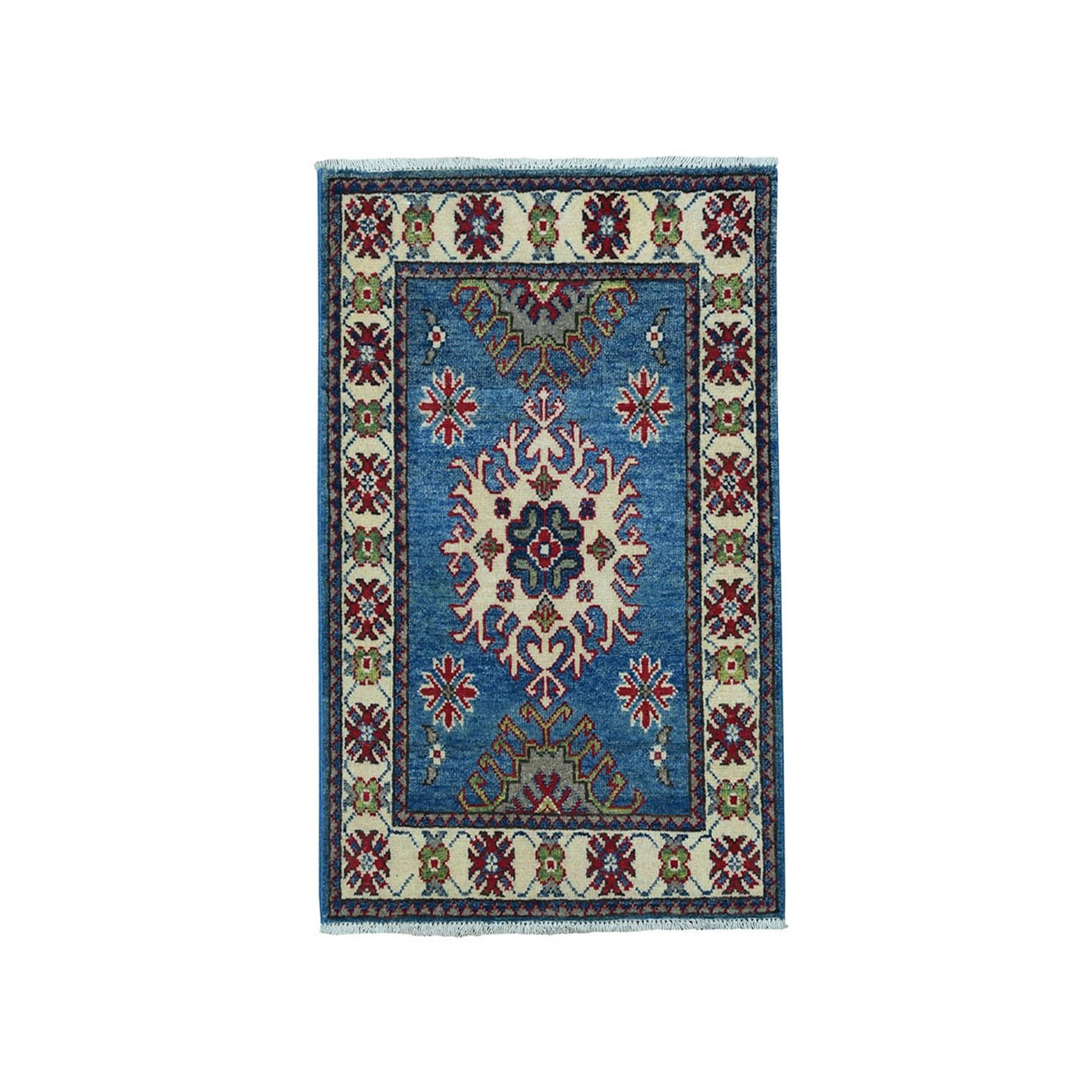 "2'x3'1"" Blue Geometric Design Kazak Pure Wool Hand-Knotted Oriental Rug 51029"