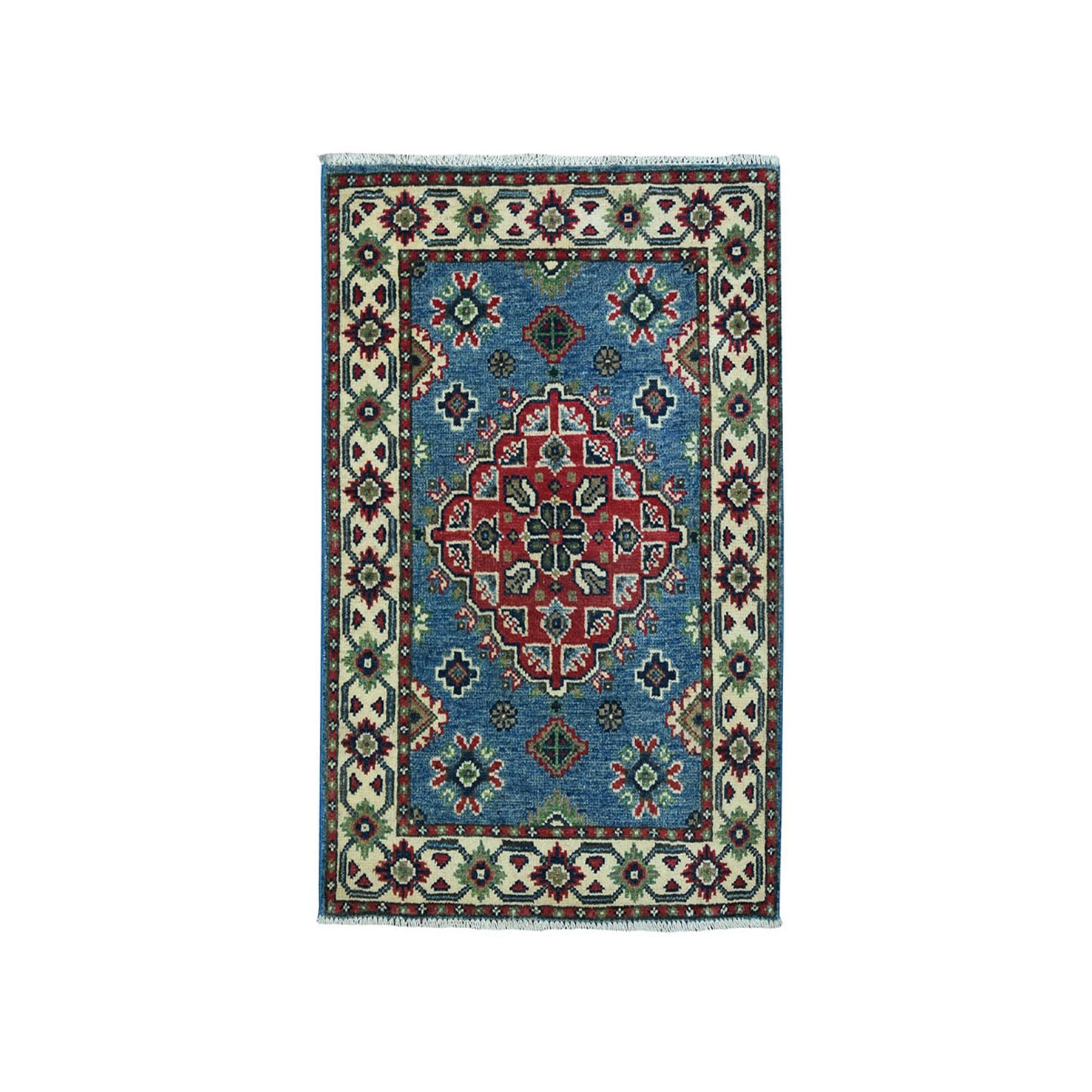 "2'X2'10"" Blue Geometric Design Kazak Pure Wool Hand-Knotted Oriental Rug moaea0ca"