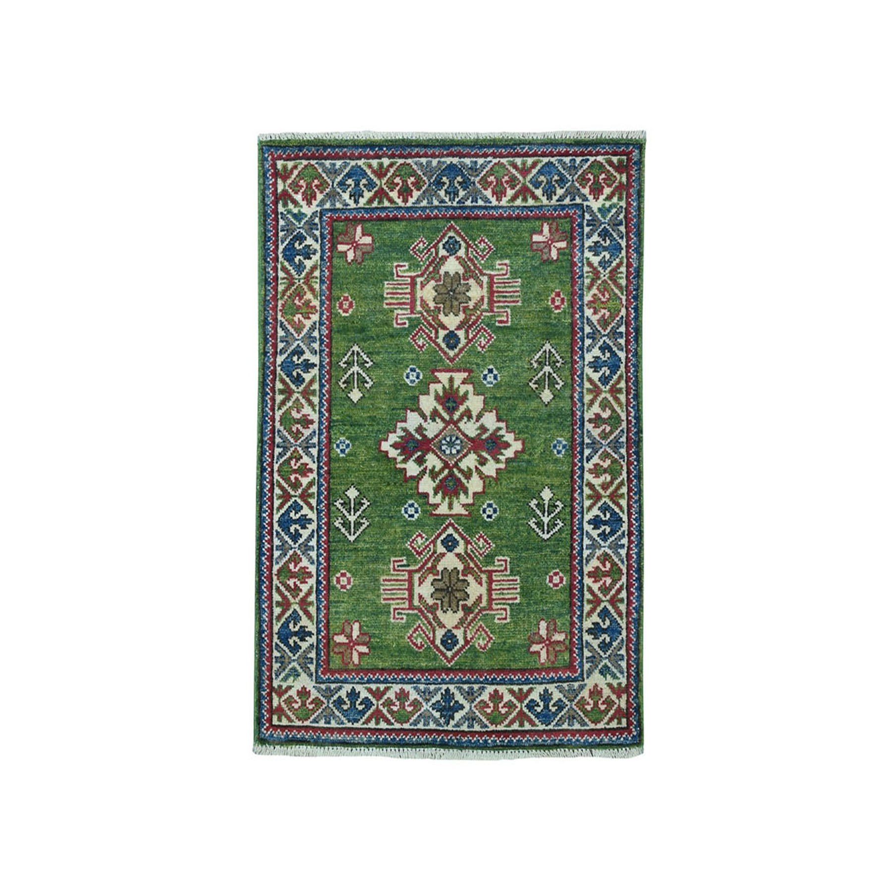 2'x3' Green Geometric Design Kazak Pure Wool Hand-Knotted Oriental Rug