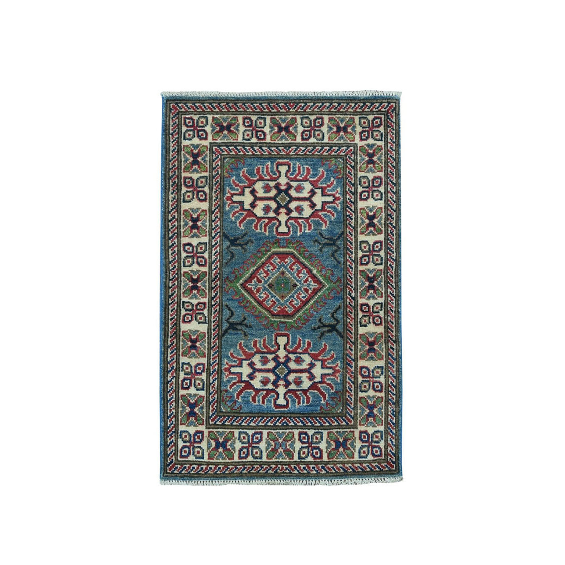 "2'X2'9"" Blue Geometric Design Kazak Pure Wool Hand-Knotted Oriental Rug moaea0cc"