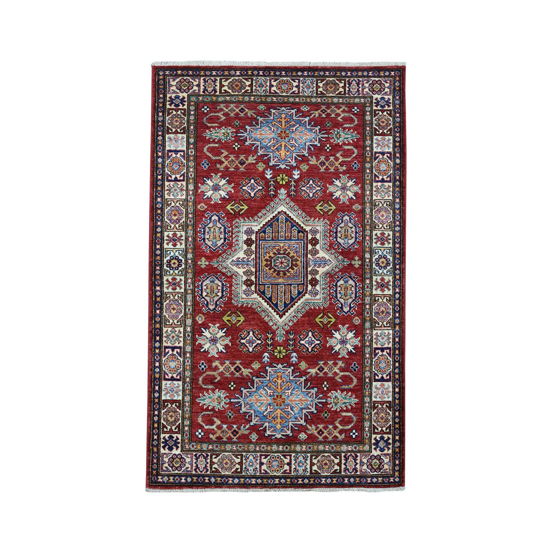 "3'2""X5' Red Super Kazak Pure Wool Geometric Design Hand-Knotted Oriental Rug moaea0ce"