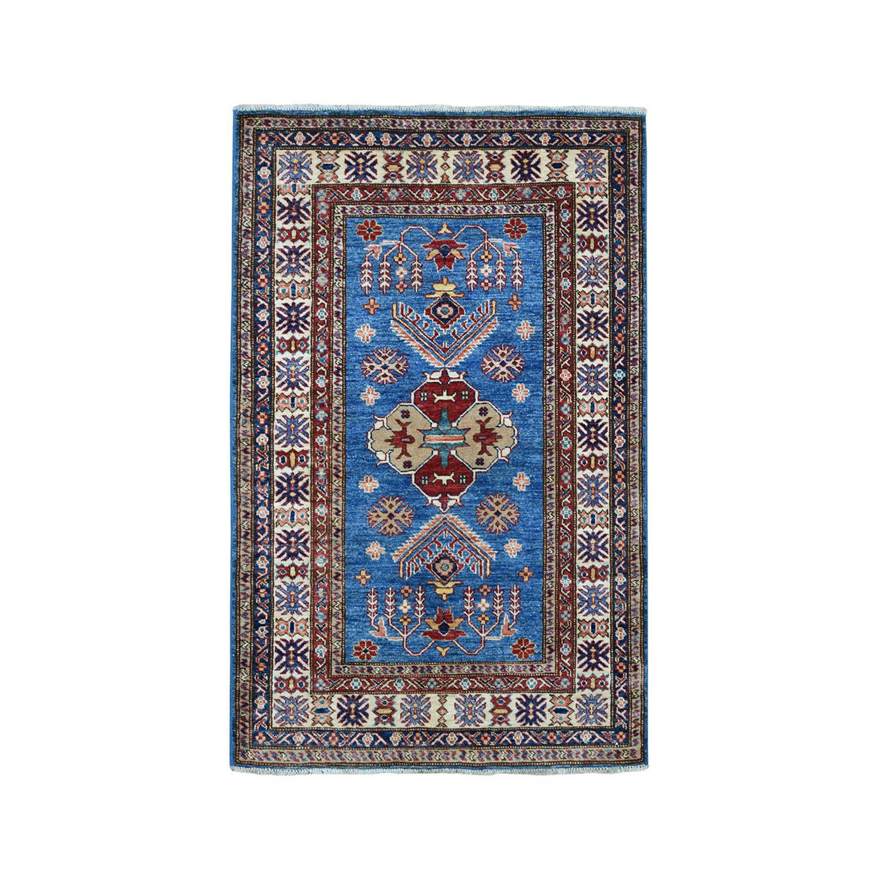 "3'4""X5' Blue Super Kazak Geometric Design Pure Wool Hand-Knotted Oriental Rug moaea0c6"