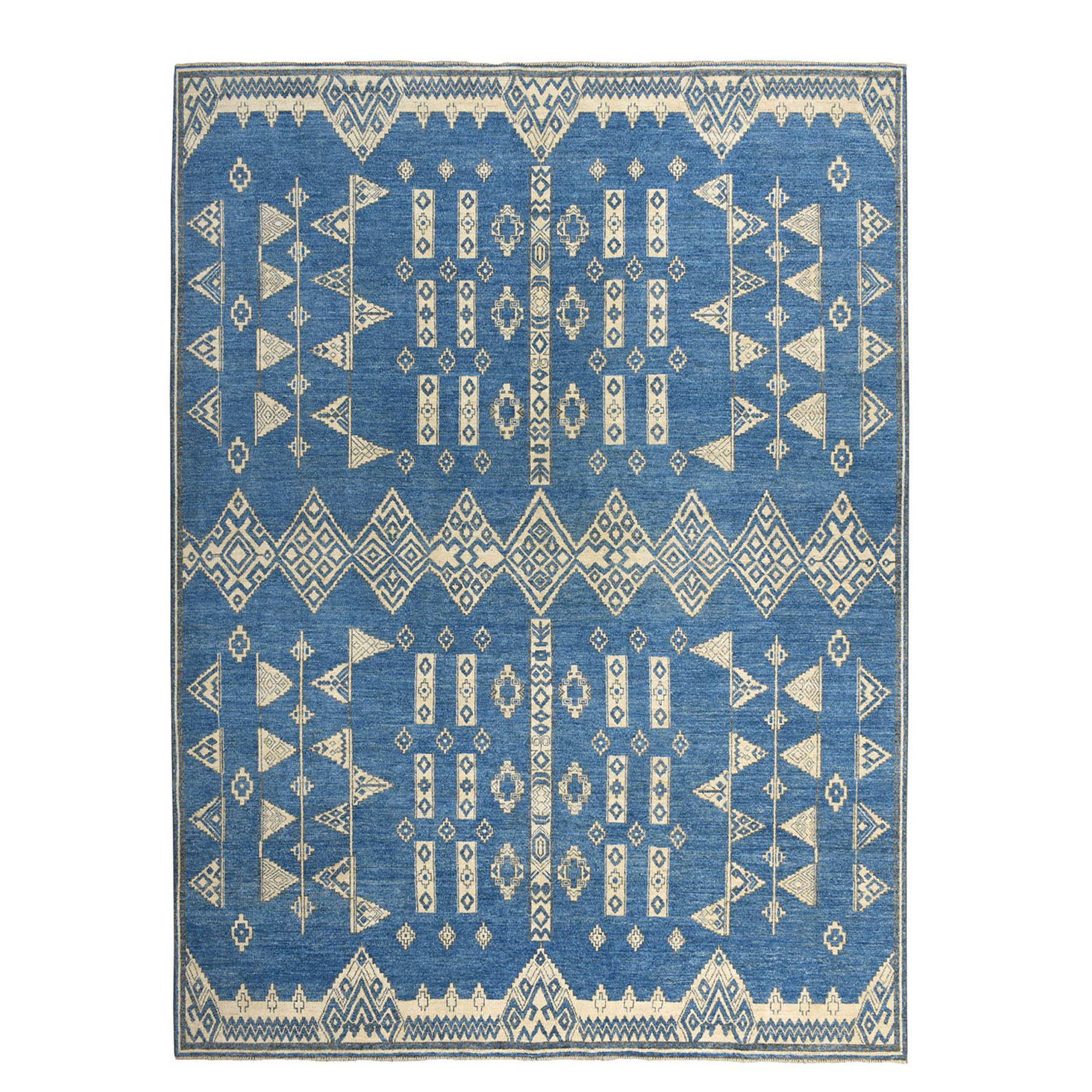 "9'X11'9"" Blue Peshawar South West Motifs Design Pure Wool Hand-Knotted Oriental Rug moaea0c9"