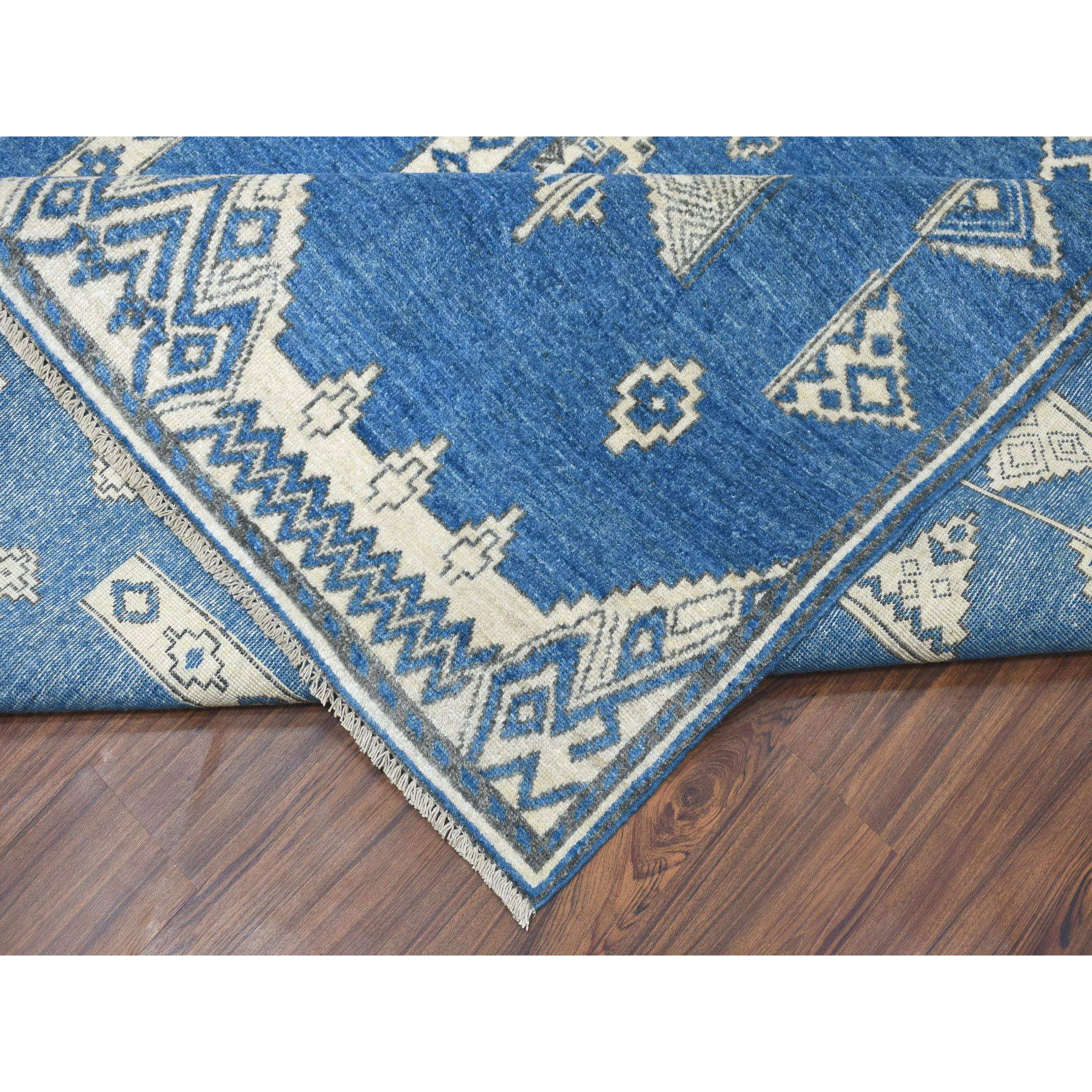 9-x11-9  Blue Peshawar South West Motifs Design Pure Wool Hand-Knotted Oriental Rug