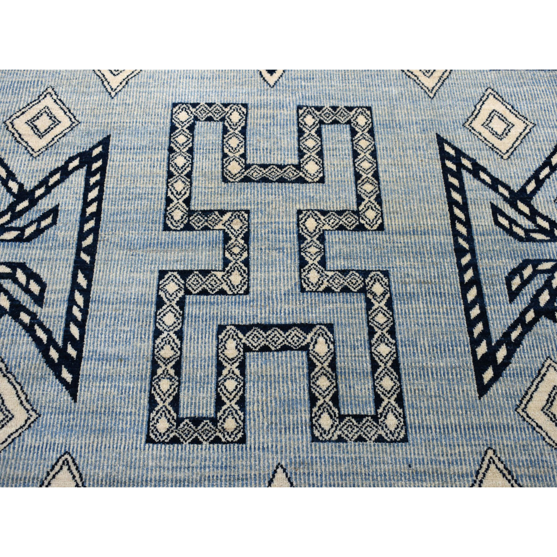 "7'9""x9'6"" Blue Peshawar South West Motifs Pure Wool Hand-Knotted Oriental Rug"