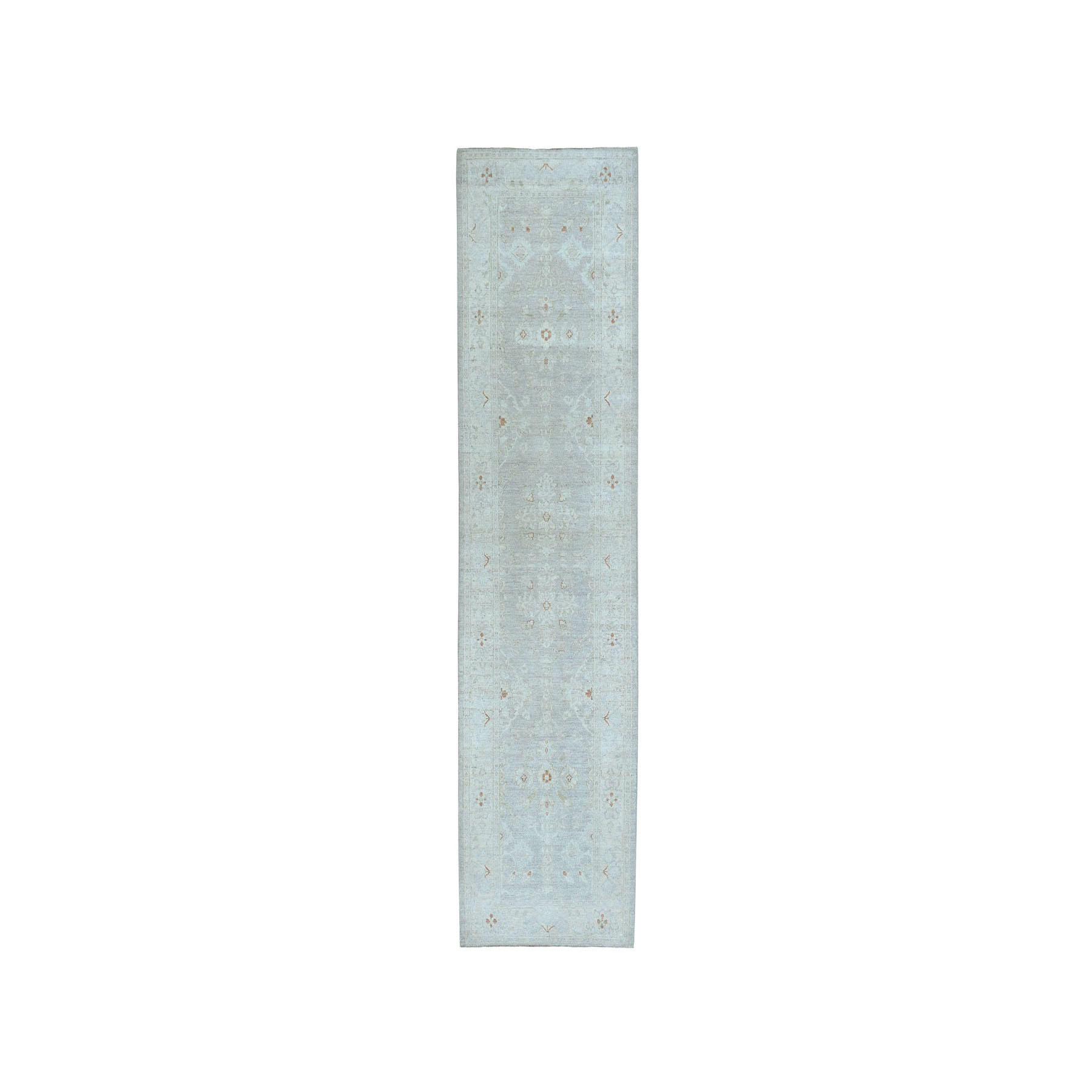 "2'8""X9'7"" White Wash Peshawar Pure Wool Hand-Knotted Oriental  Runner Rug moaea0da"