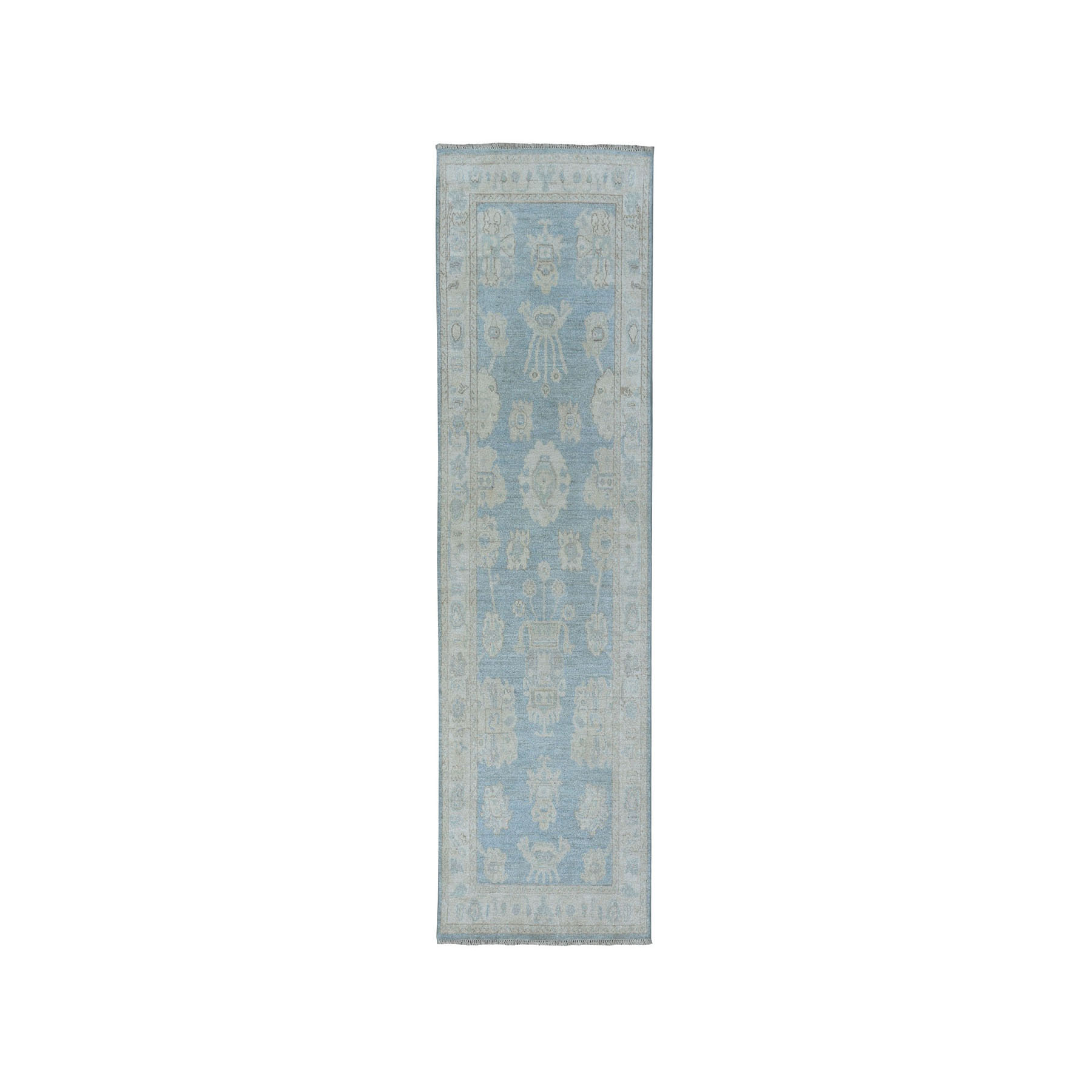 """2'6""""X7' White Wash Peshawar Pure Wool Hand-Knotted Oriental  Runner Rug moaea0db"""