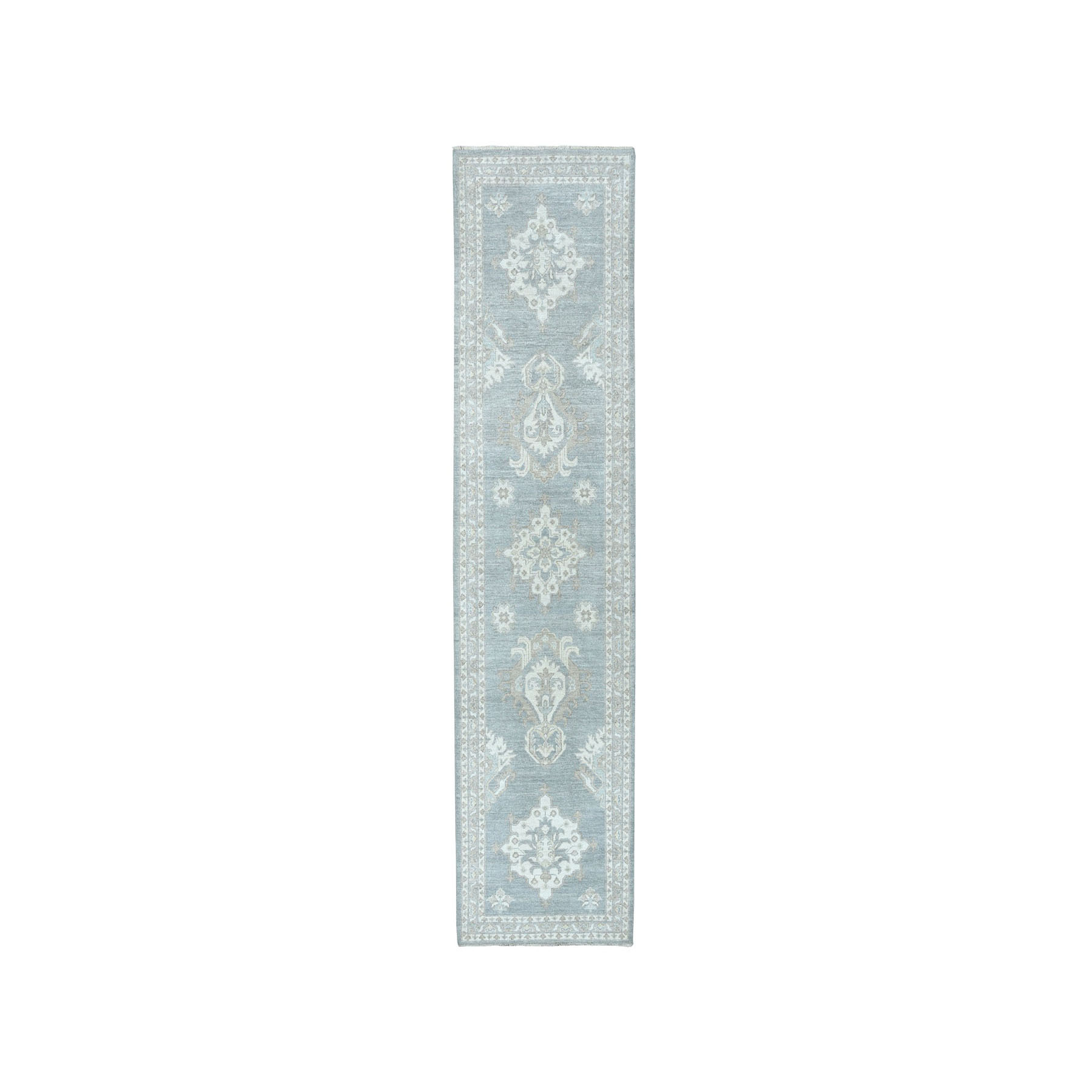 """2'9""""X10' White Wash Peshawar Pure Wool Hand-Knotted Oriental  Runner Rug moaea0dc"""