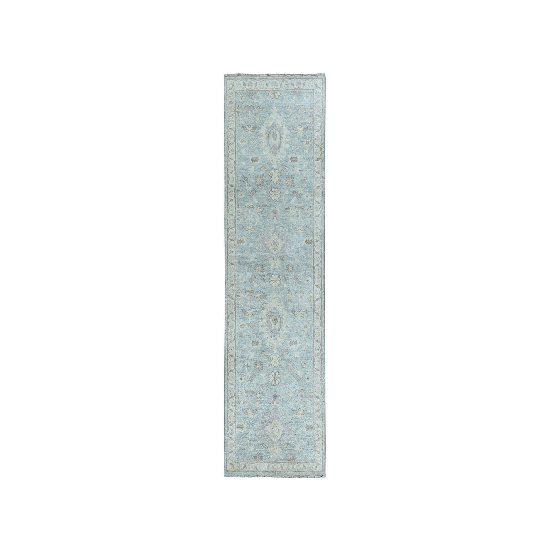 """1'10""""X5'9"""" White Wash Peshawar Pure Wool Hand-Knotted Oriental  Runner Rug moaea0dd"""