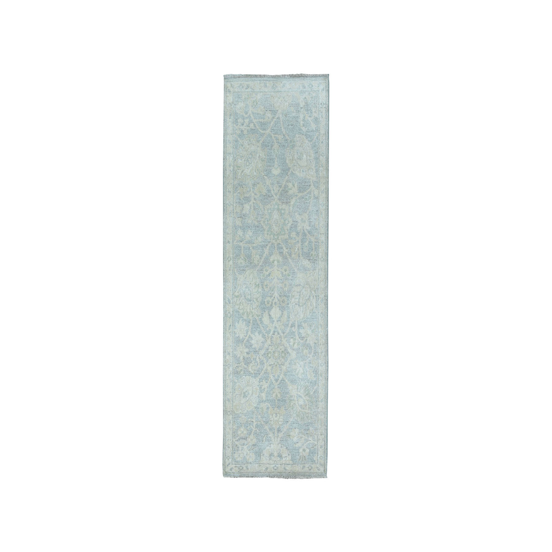 "2'1""X6' White Wash Peshawar Pure Wool Hand-Knotted Oriental  Runner Rug moaea0de"