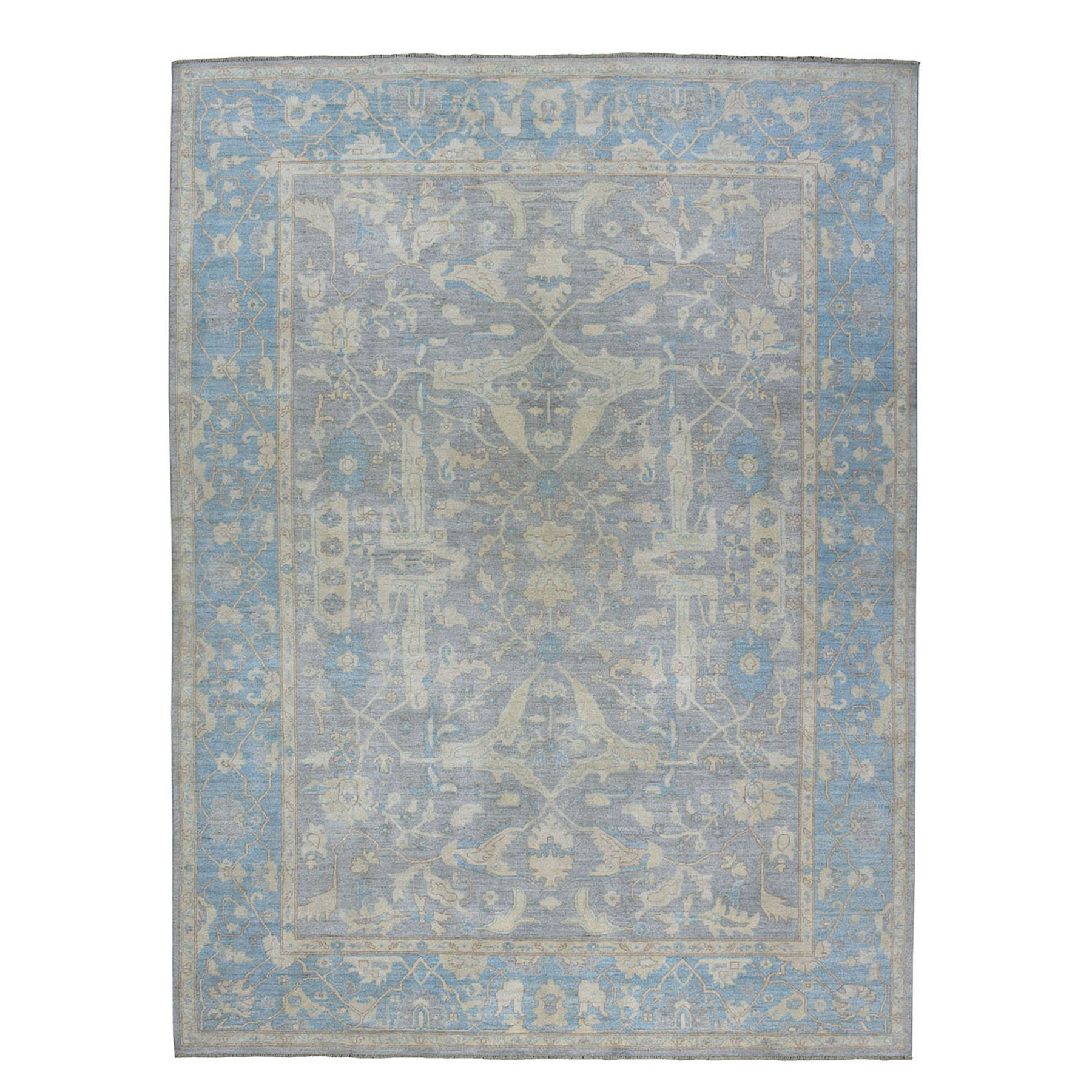 "8'10""X11'9"" White Wash Peshawar With Oushak Design Hand-Knotted Oriental Rug moaea0d7"