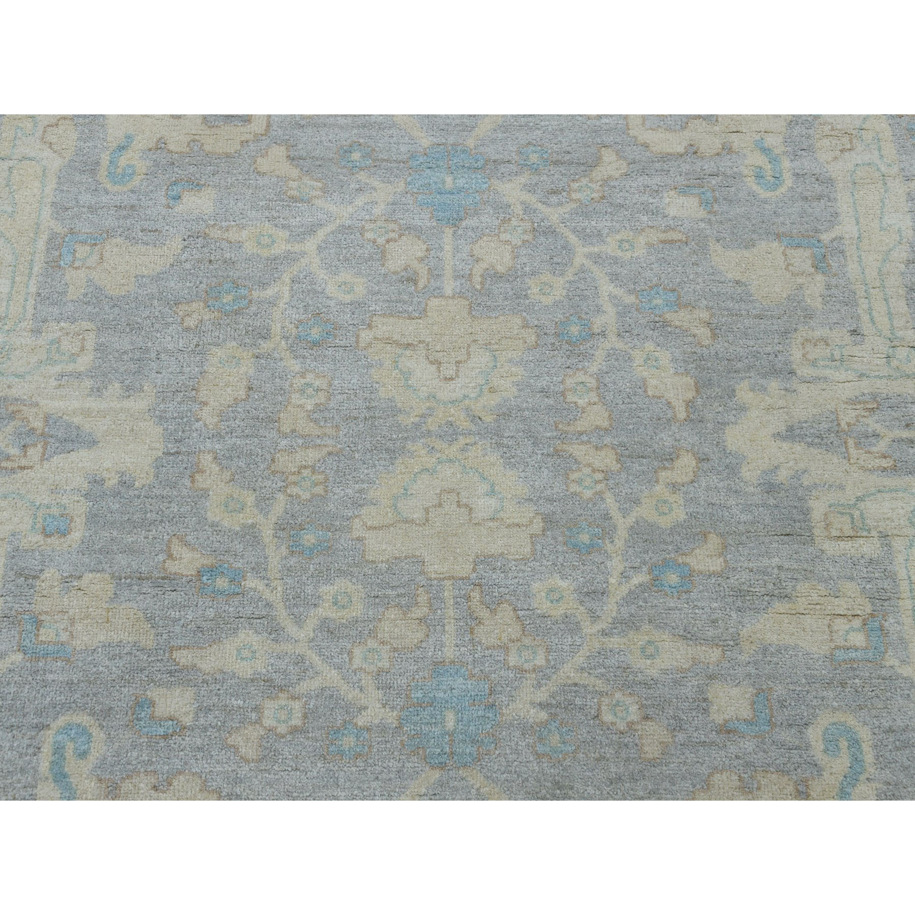 "8'10""x11'9"" White Wash Peshawar With Oushak Design Hand-Knotted Oriental Rug"