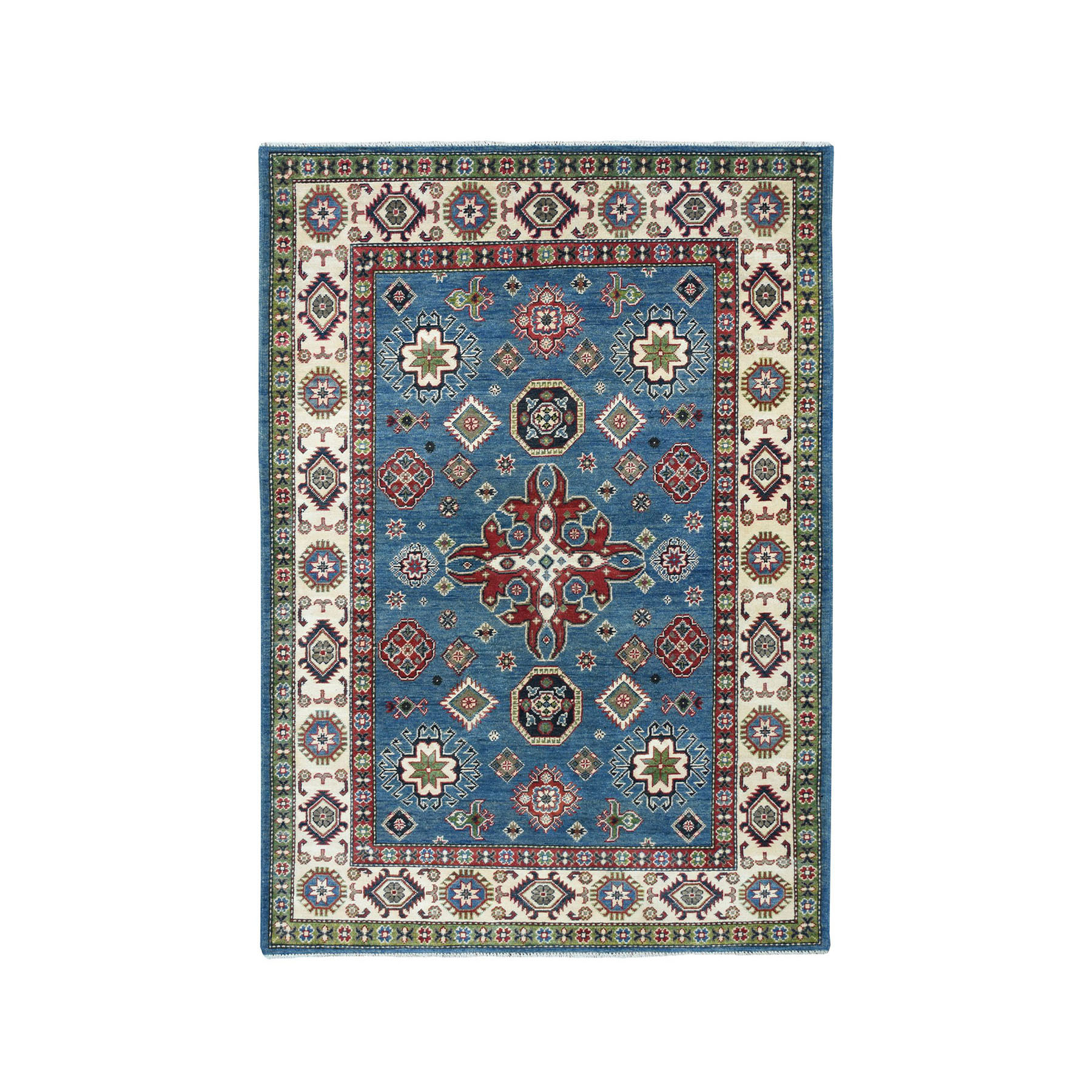 "4'10""X7'3"" Blue Geometric Design Kazak Pure Wool Hand-Knotted Oriental Rug moaea060"