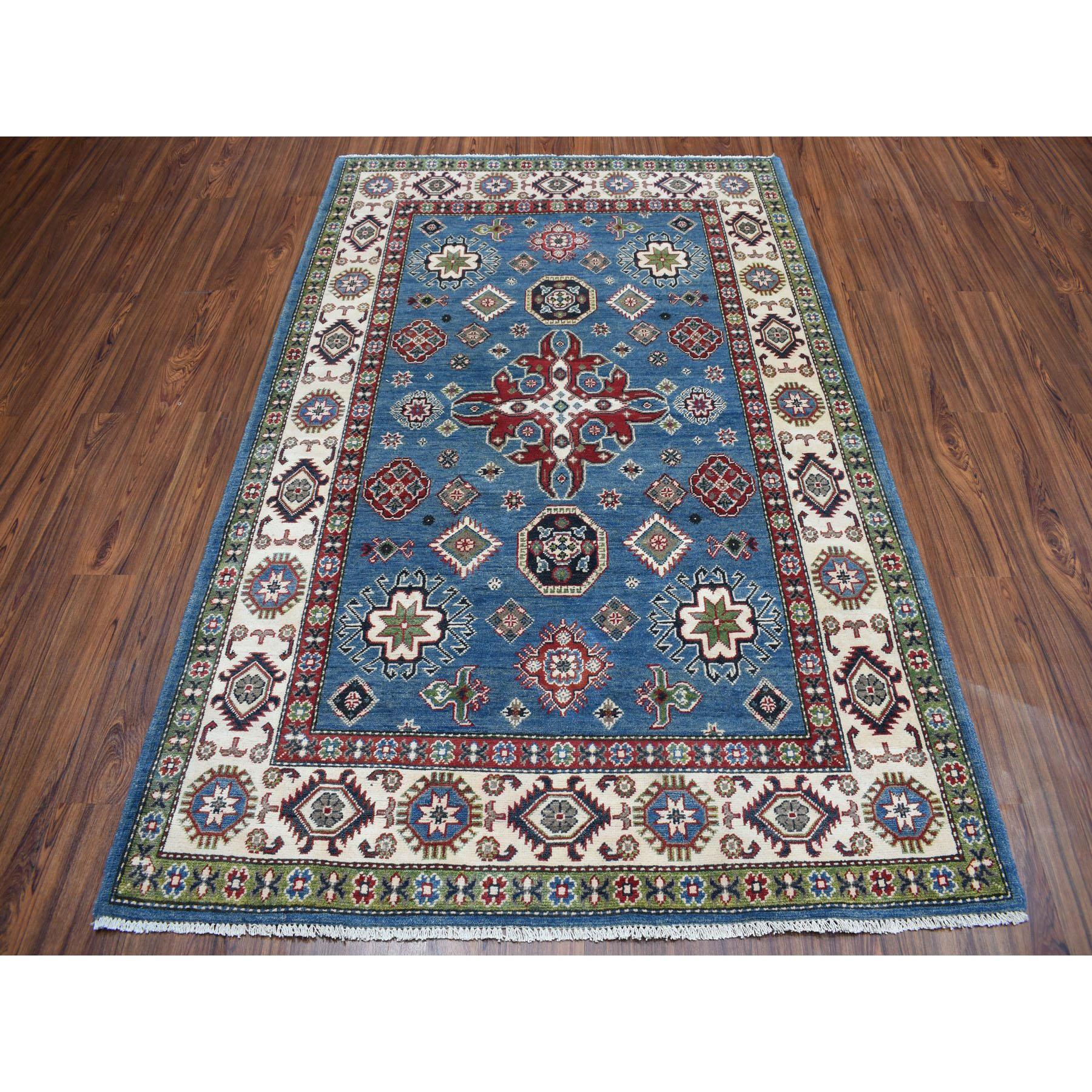 "4'10""x7'3"" Blue Geometric Design Kazak Pure Wool Hand-Knotted Oriental Rug"