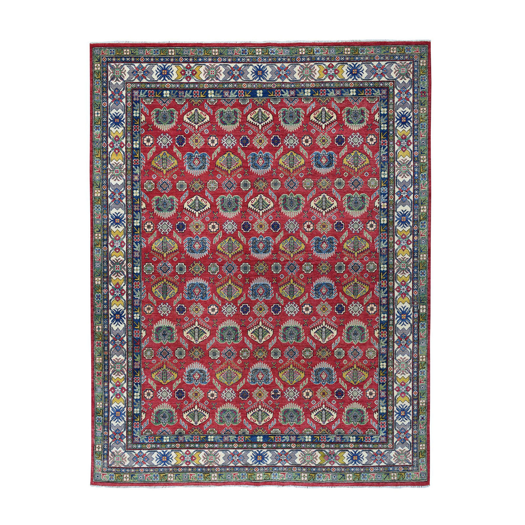 "8'X9'10"" Red Kazak Geometric Design Pure Wool Hand-Knotted Oriental Rug moaea06a"