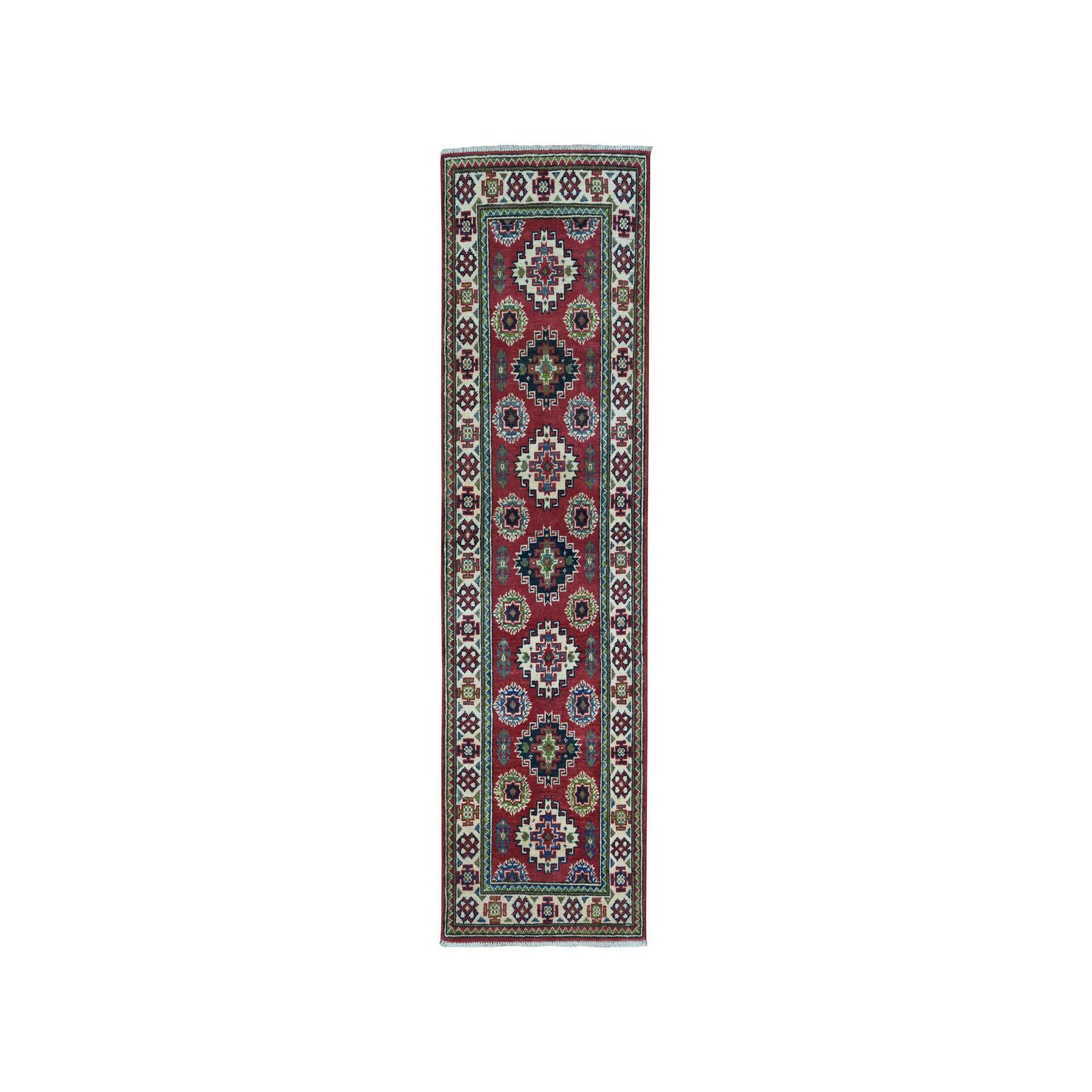 "2'X5'7"" Red Super Kazak Pure Wool Geometric Design Hand-Knotted Runner Oriental Rug moaea06b"